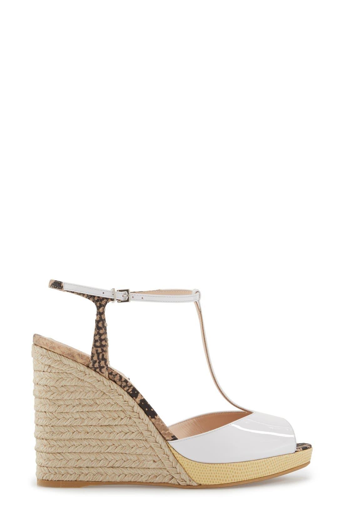 'Elodie' T-Strap Wedge Sandal,                             Alternate thumbnail 7, color,