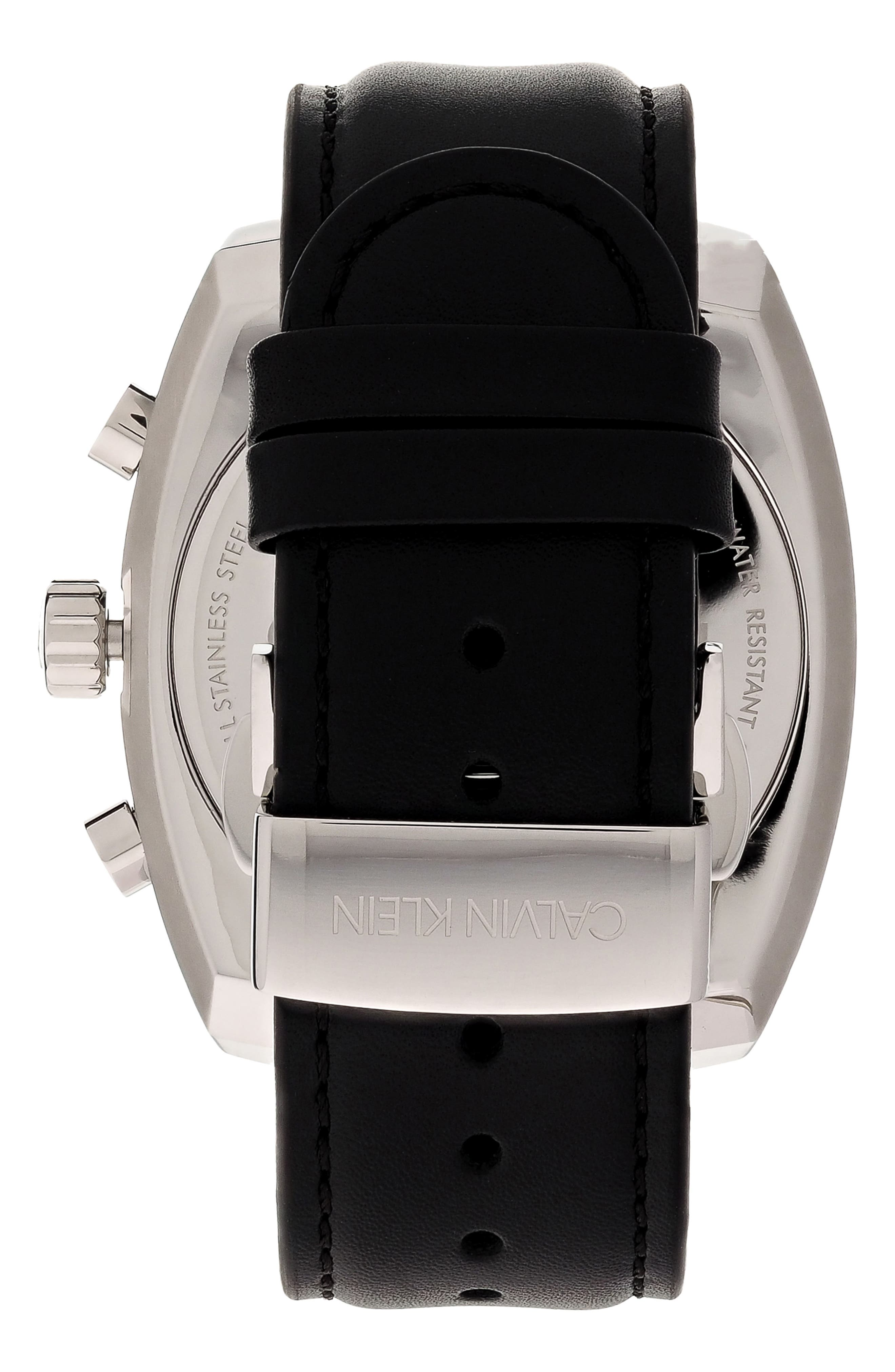 Achieve Chronograph Leather Band Watch, 43mm,                             Alternate thumbnail 2, color,                             BLACK/ SILVER