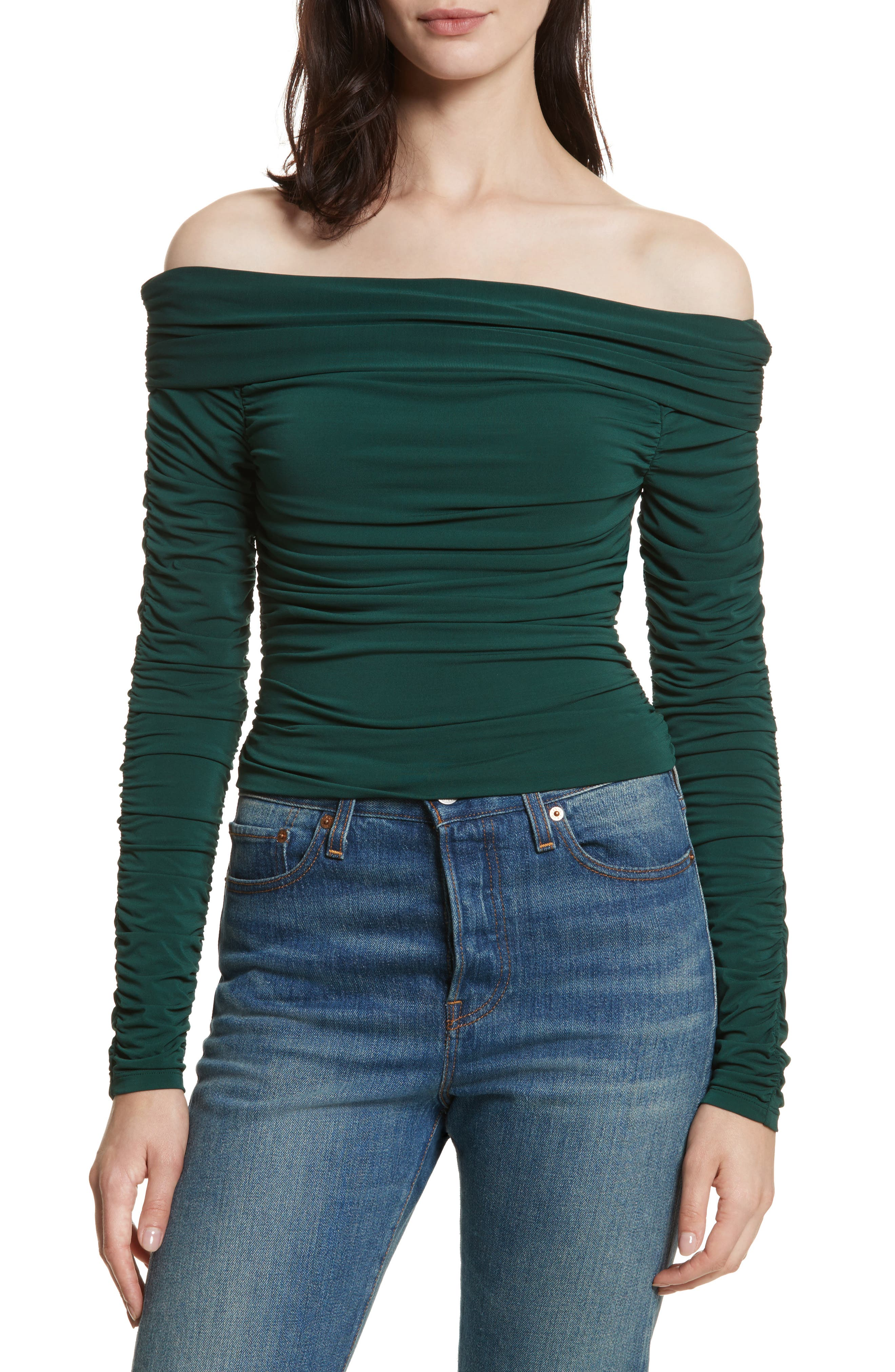 Terence Ruched Off the Shoulder Top,                             Main thumbnail 1, color,