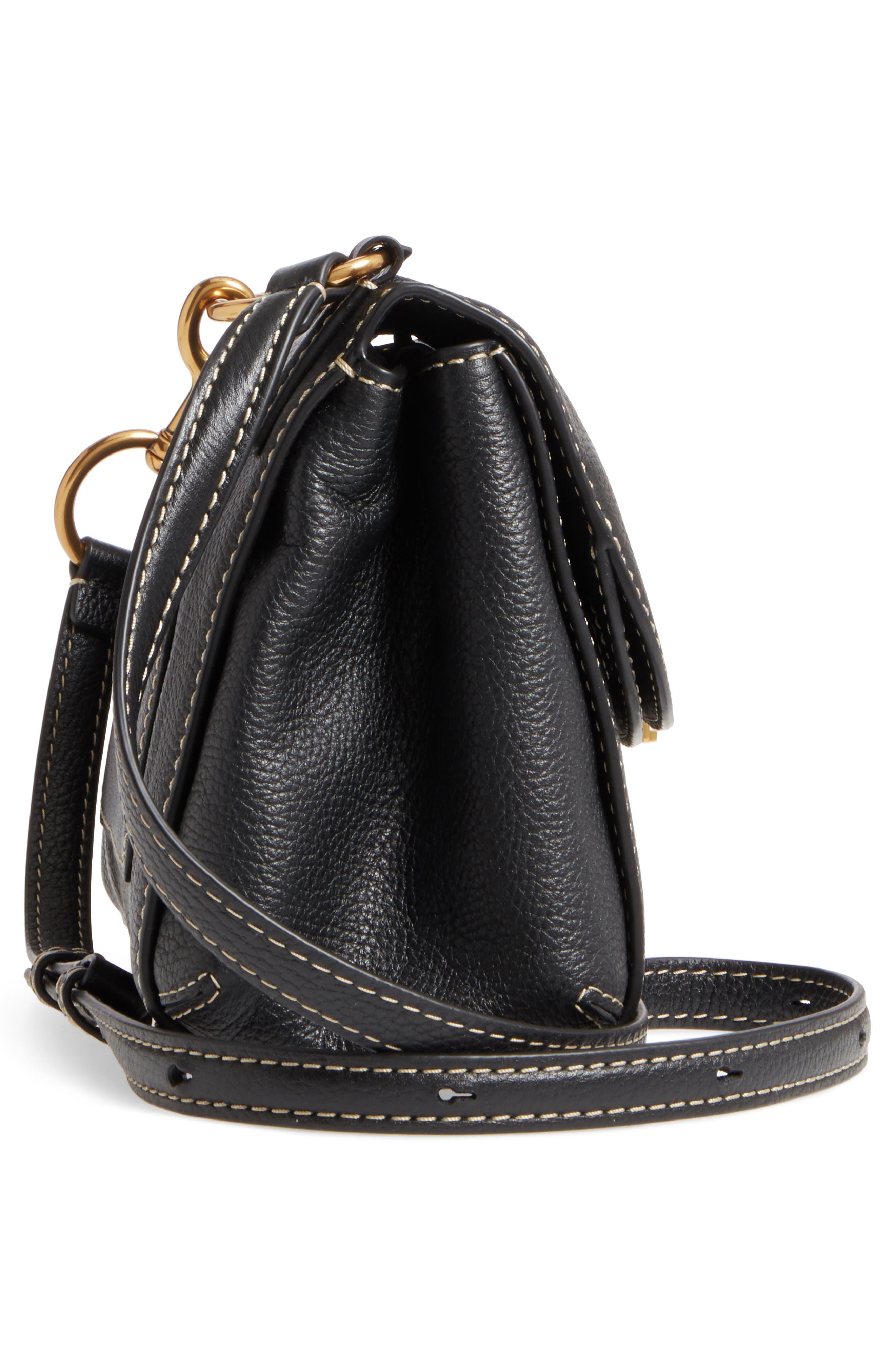 The Grind Boho Leather Shoulder Bag,                             Alternate thumbnail 5, color,                             BLACK/ GOLD