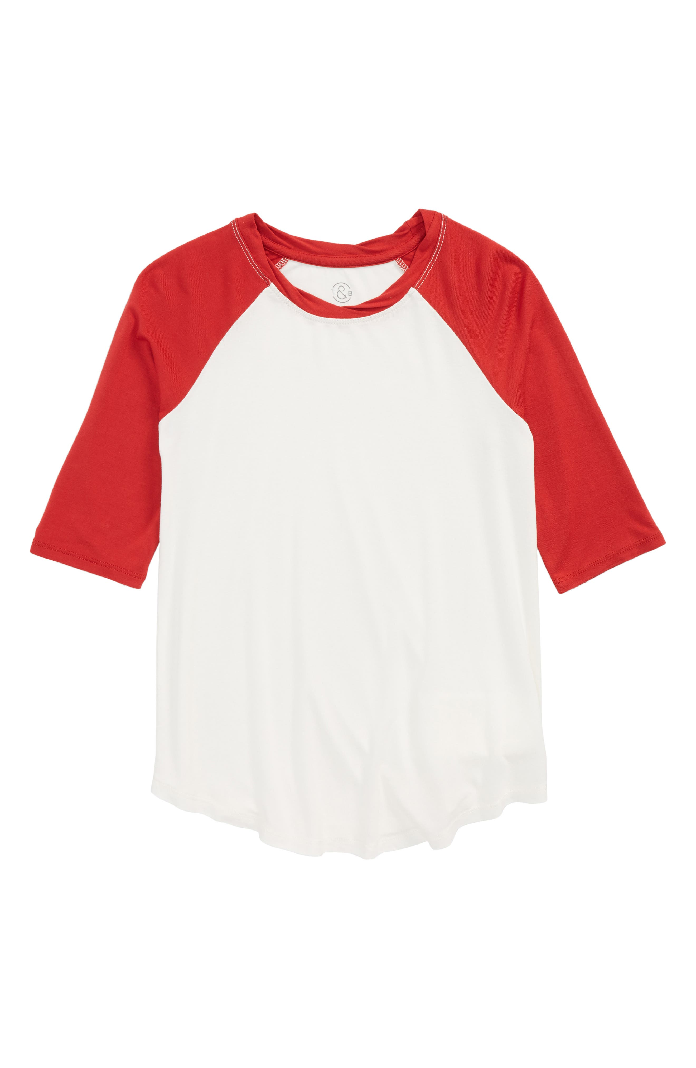 Colorblock Baseball Tee,                             Main thumbnail 1, color,                             IVORY EGRET- RED