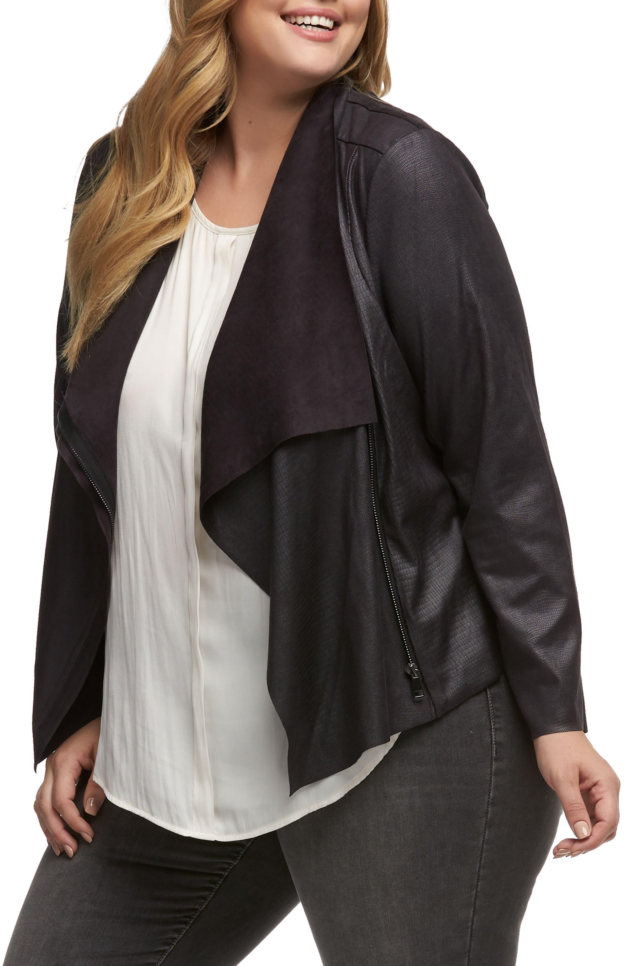 Shani Faux Leather Jacket,                             Alternate thumbnail 3, color,                             EMBOSSED COBRA