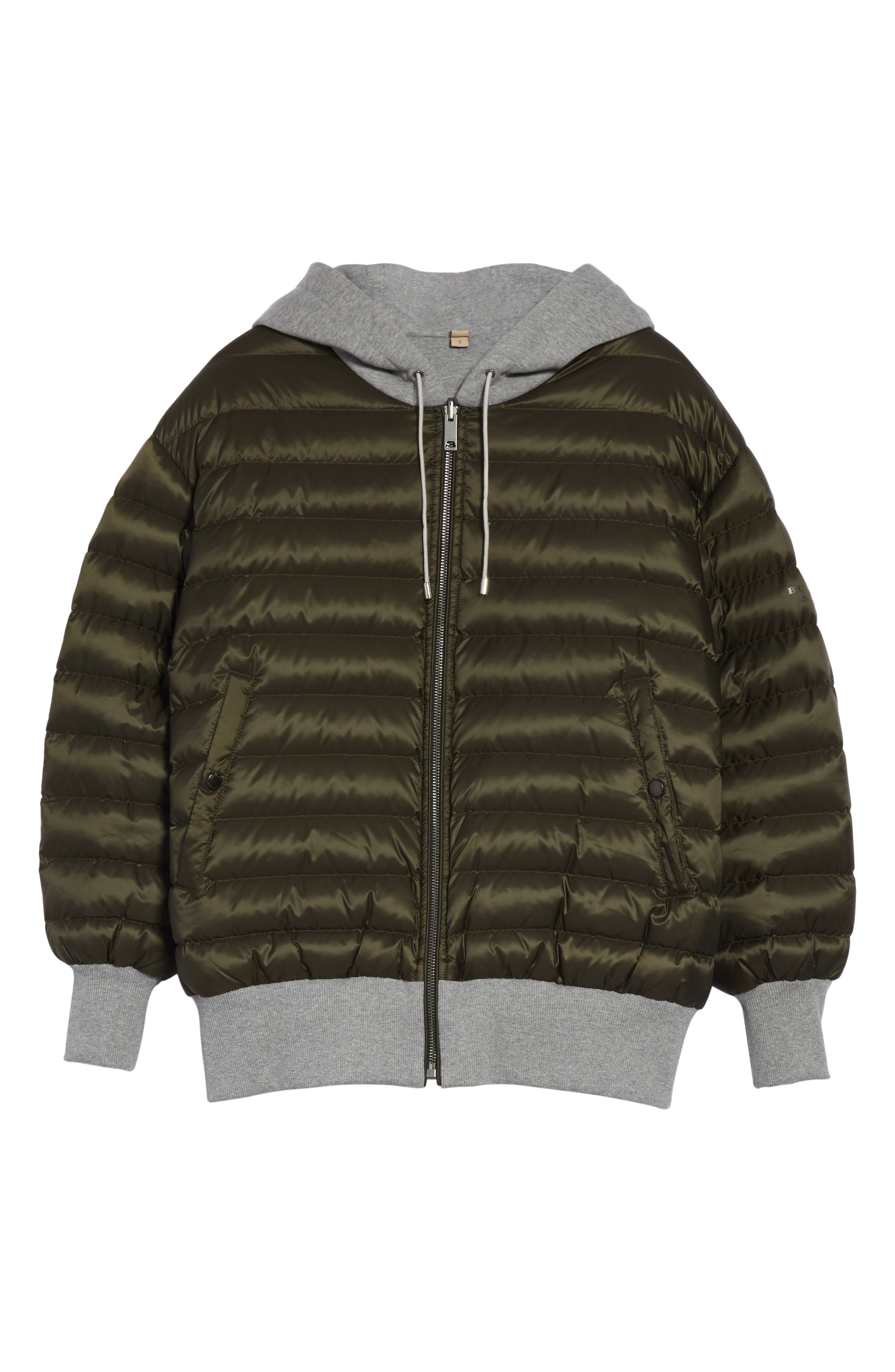 Langleigh Reversible Down Hooded Bomber Jacket,                             Alternate thumbnail 6, color,