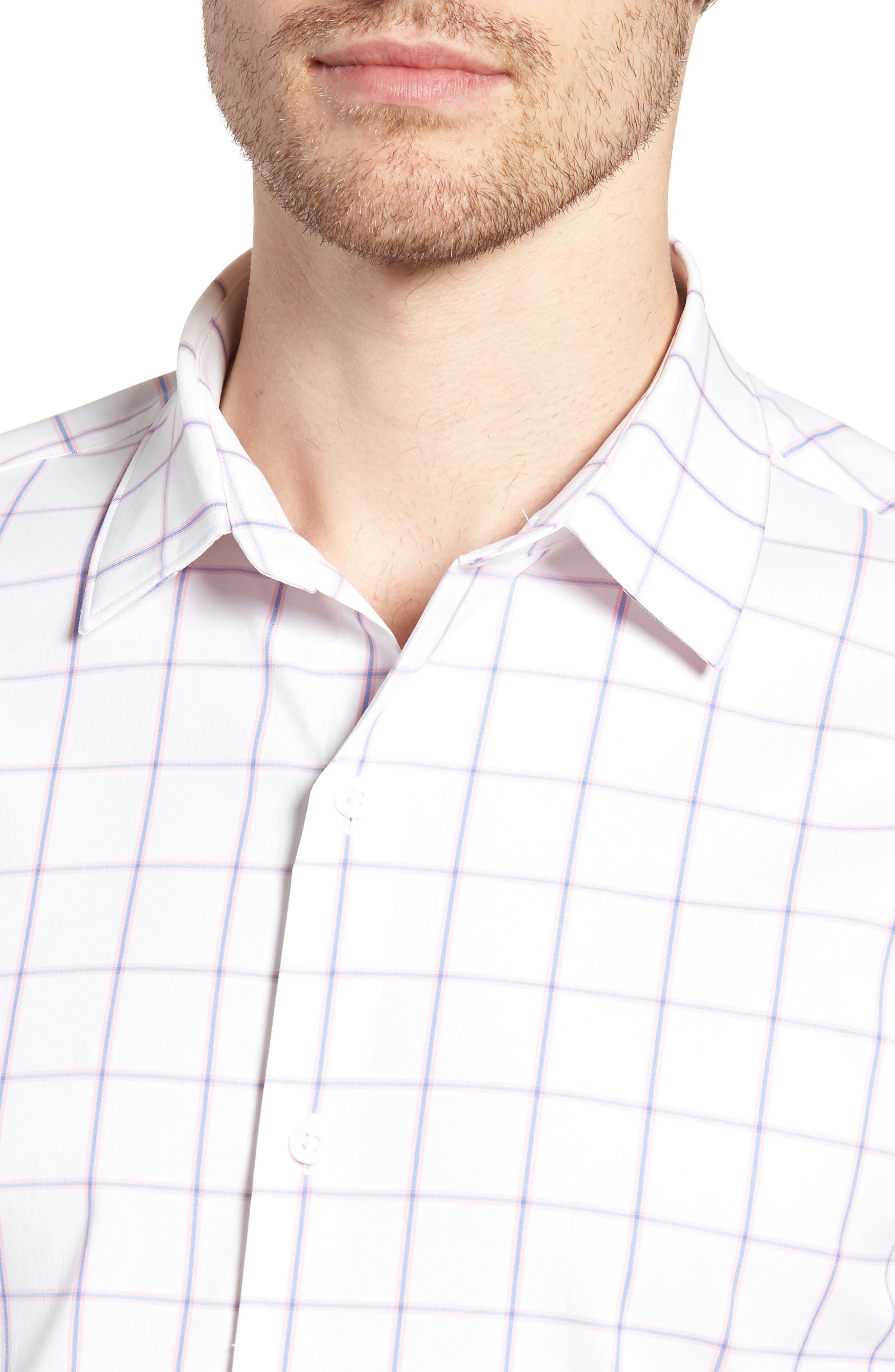 Slim Fit Check Performance Sport Shirt,                             Alternate thumbnail 4, color,                             100