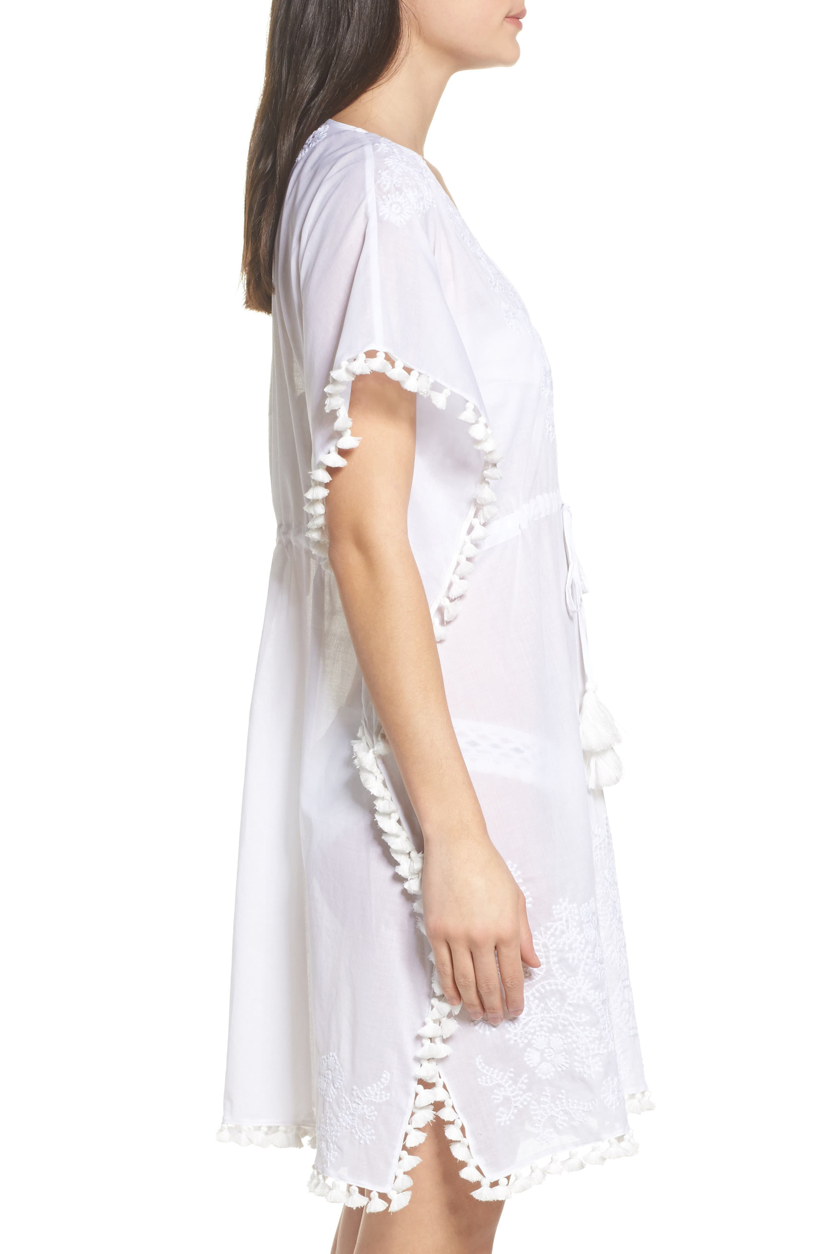 Embroidered Cover-Up Caftan,                             Alternate thumbnail 3, color,                             WHITE / WHITE