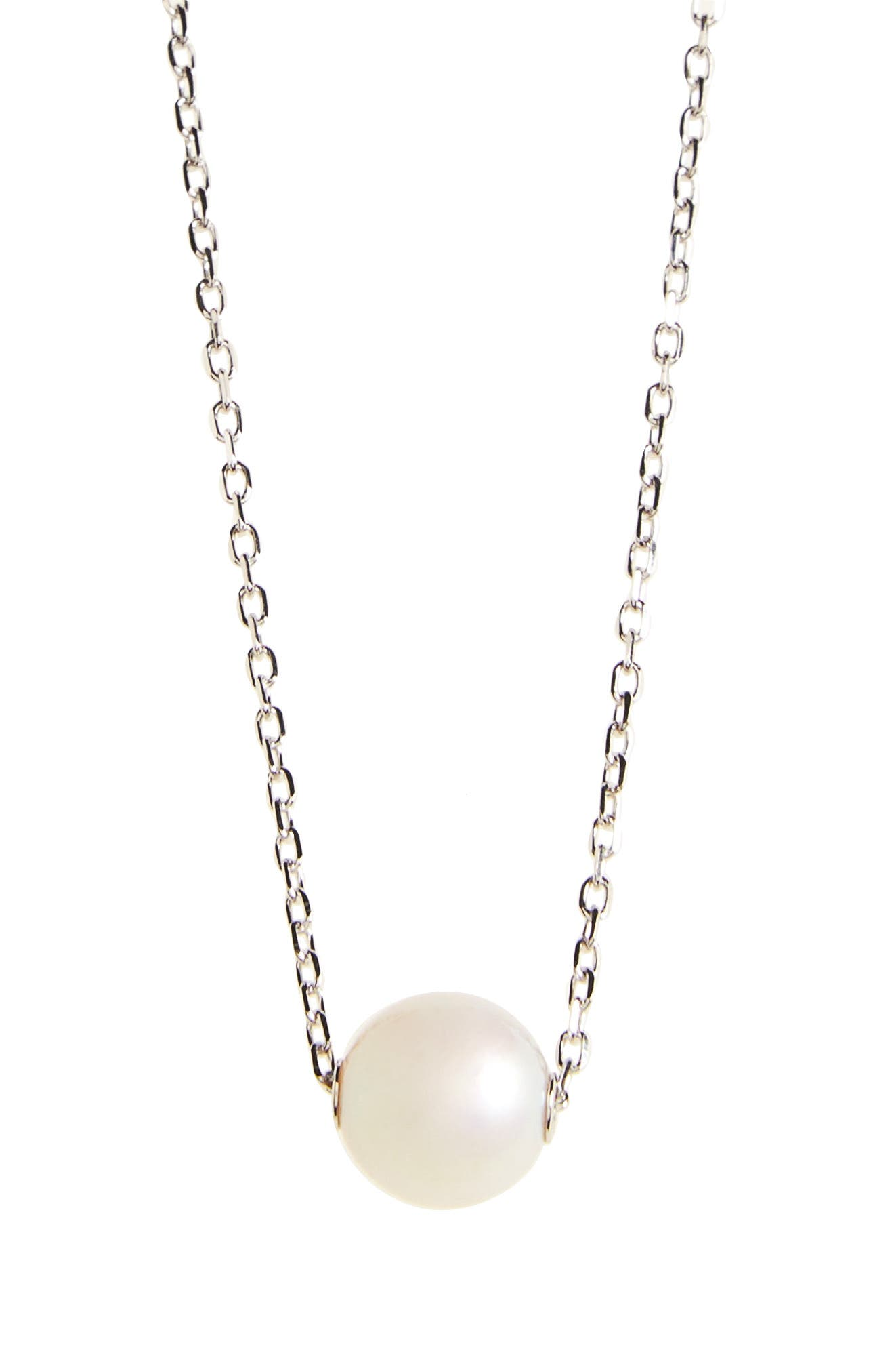 Single Pearl Pendant Necklace,                             Alternate thumbnail 2, color,                             WHITE GOLD