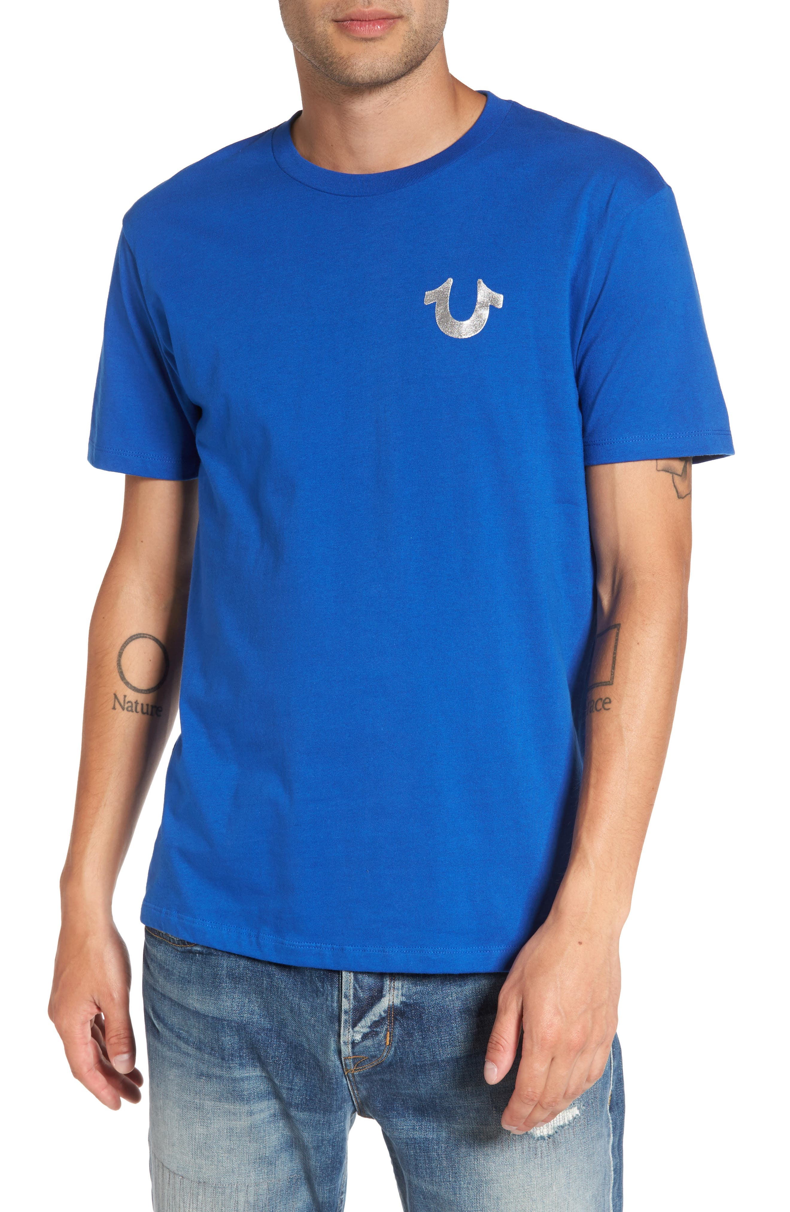 True Religion Silver Buddha T-Shirt,                             Main thumbnail 3, color,