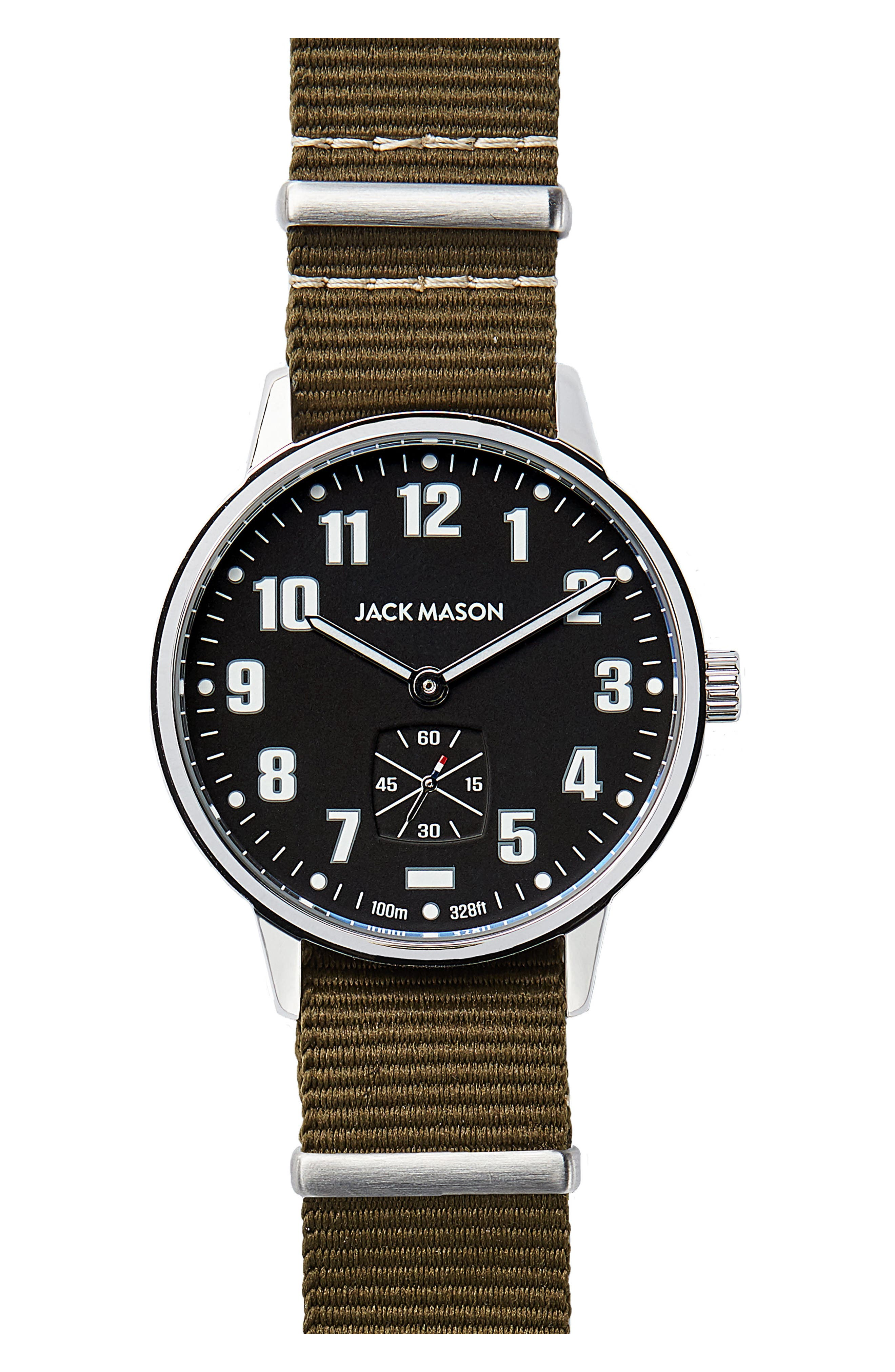 Field Nylon Strap Watch, 38mm,                         Main,                         color, NAVY/ OLIVE