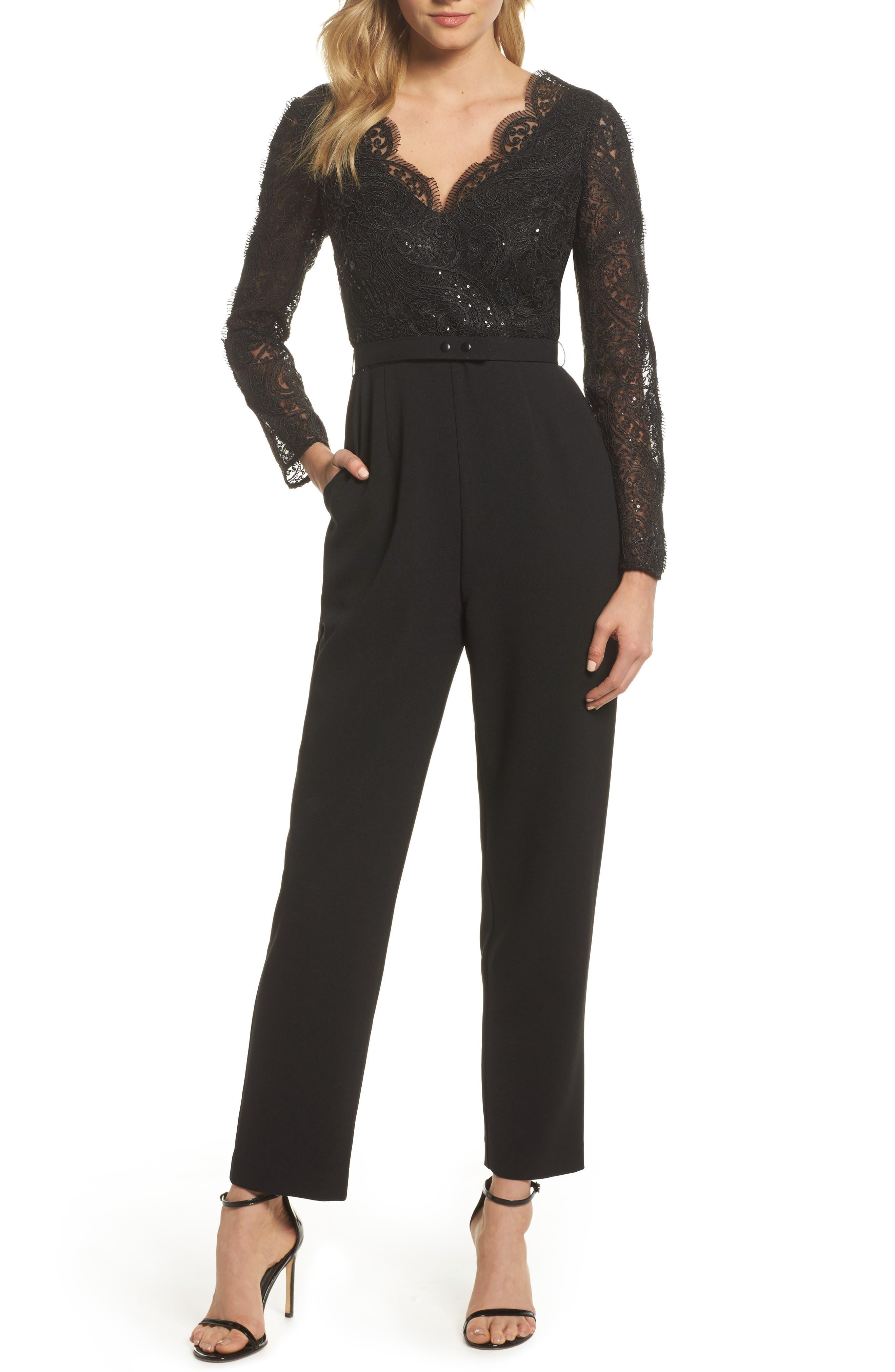 Lace Neck Crepe Jumpsuit,                         Main,                         color,