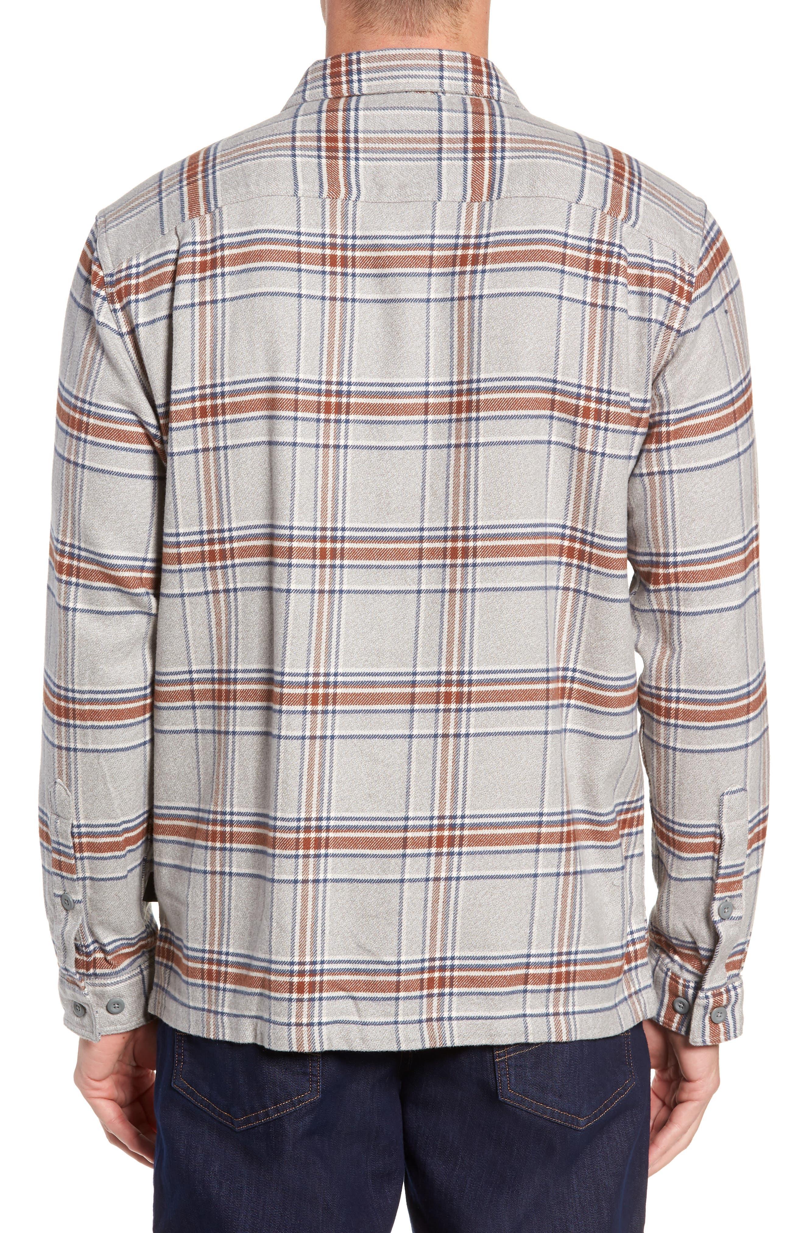 'Fjord' Regular Fit Organic Cotton Flannel Shirt,                             Alternate thumbnail 3, color,                             ACTIVIST FEATHER GREY
