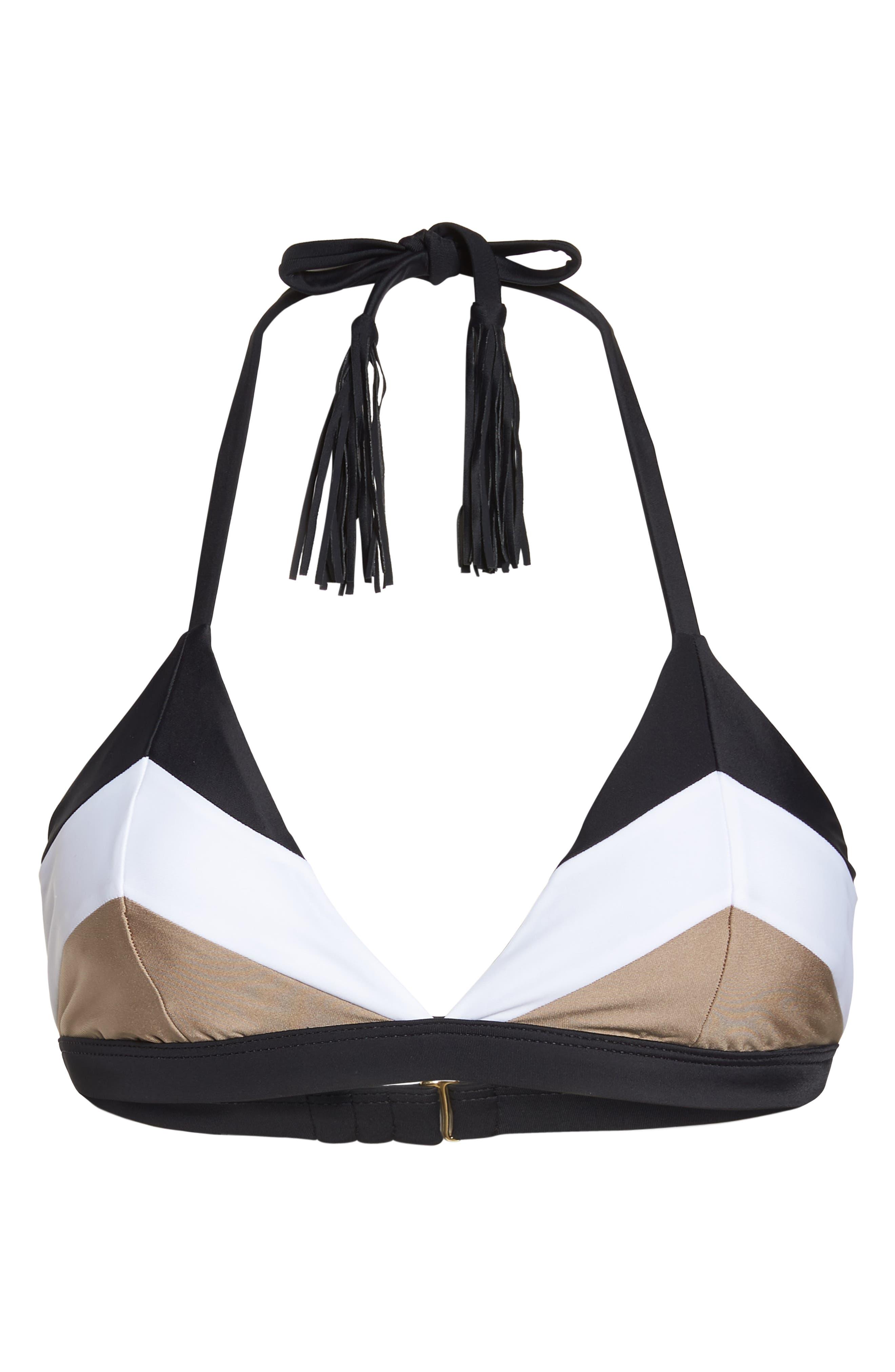 Colorblock Triangle Bikini Top,                             Alternate thumbnail 5, color,                             CADILLAC