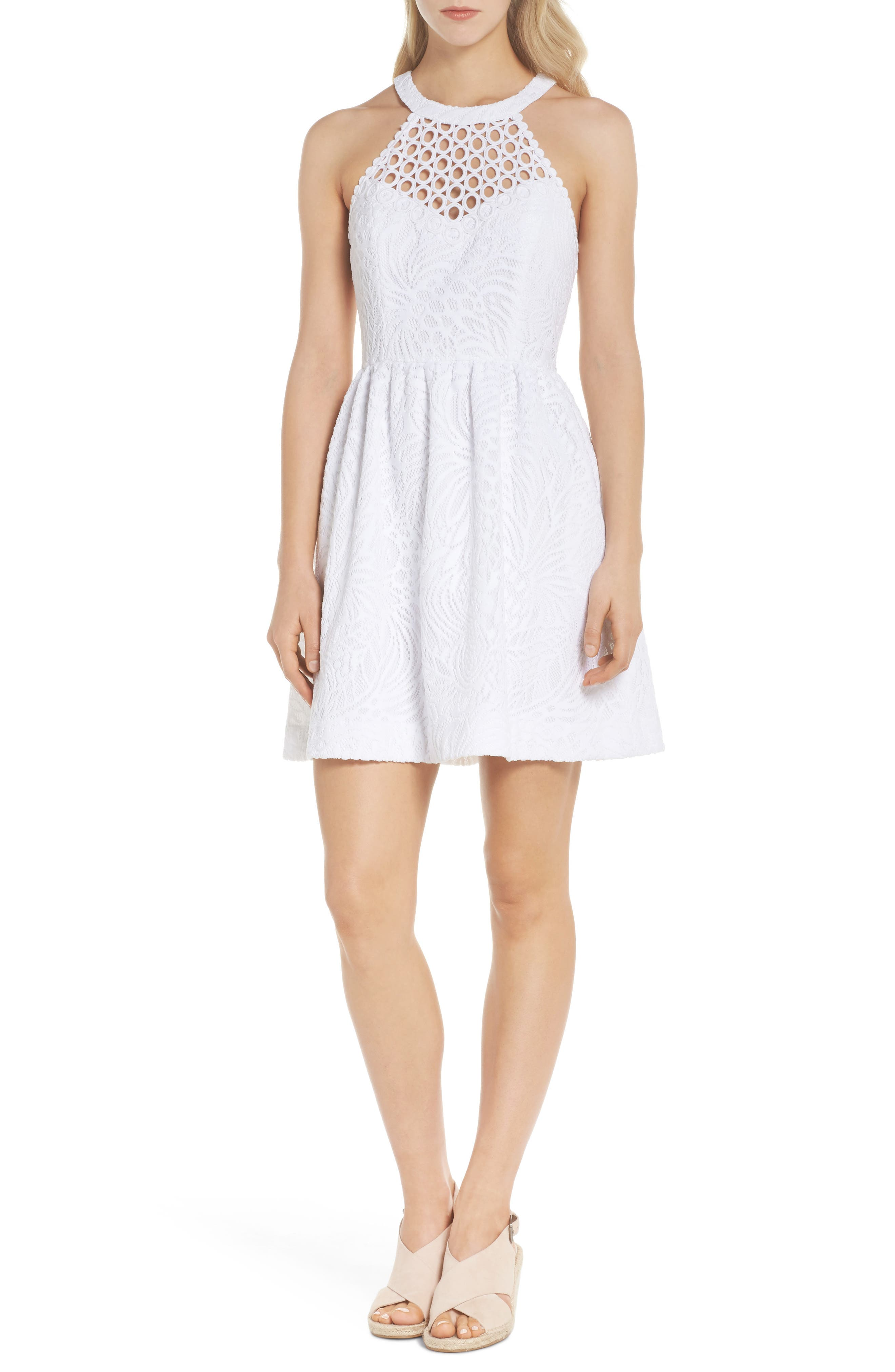 Kinley Halter Dress,                             Main thumbnail 1, color,                             RESORT WHITE TROPICAL LACE