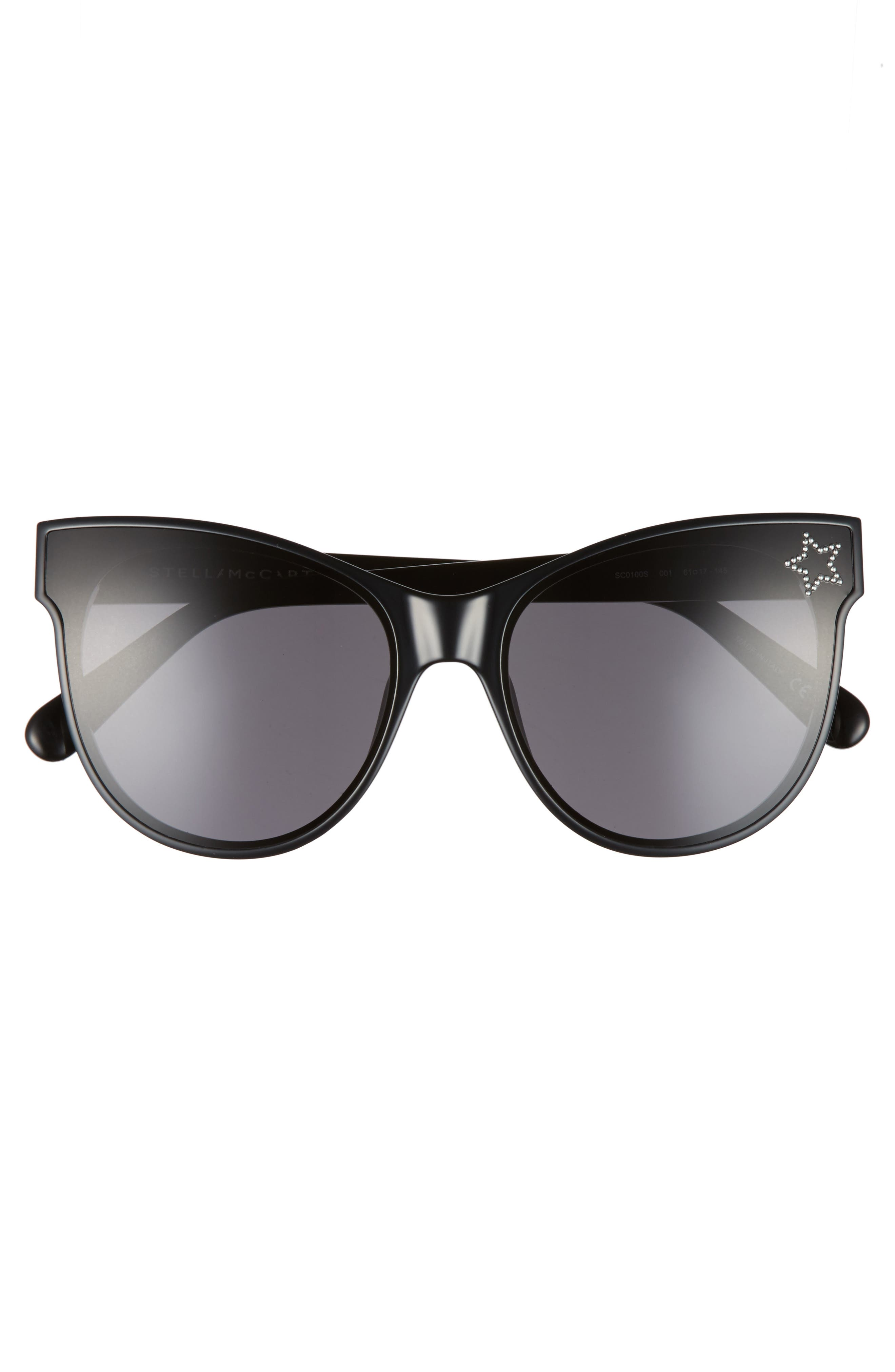 61mm Cat Eye Sunglasses,                             Alternate thumbnail 3, color,                             BLACK