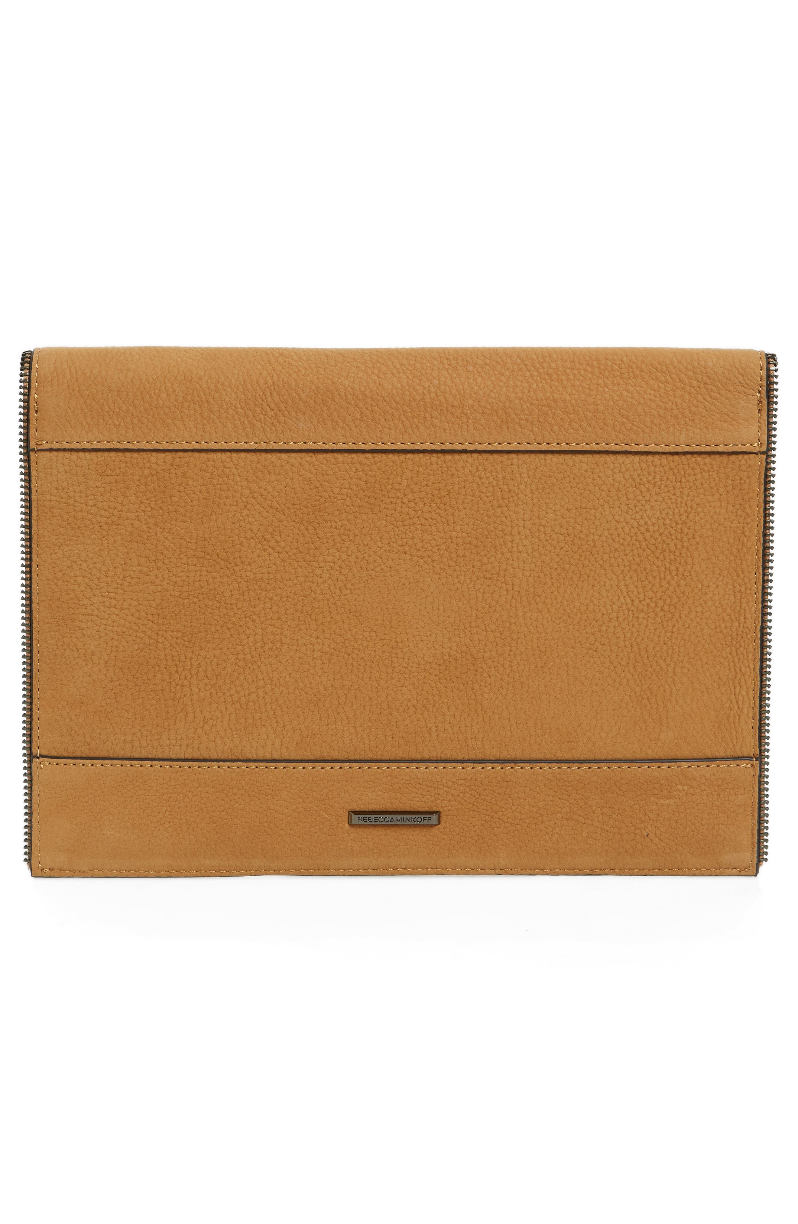 REBECCA MINKOFF,                             Leo Leather Envelope Clutch,                             Alternate thumbnail 4, color,                             210
