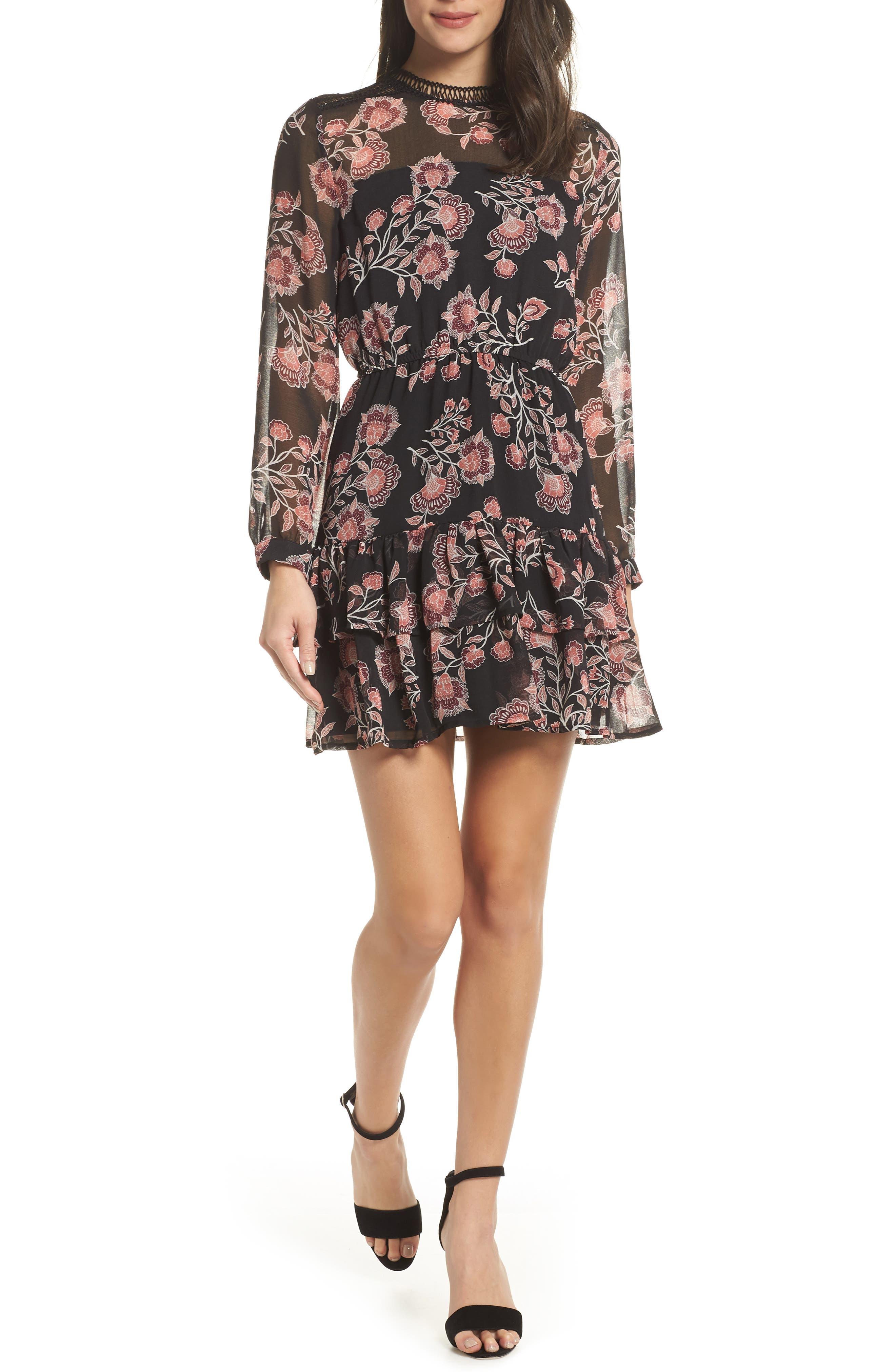 Bb Dakota Folk Floral Chiffon Minidress, Black