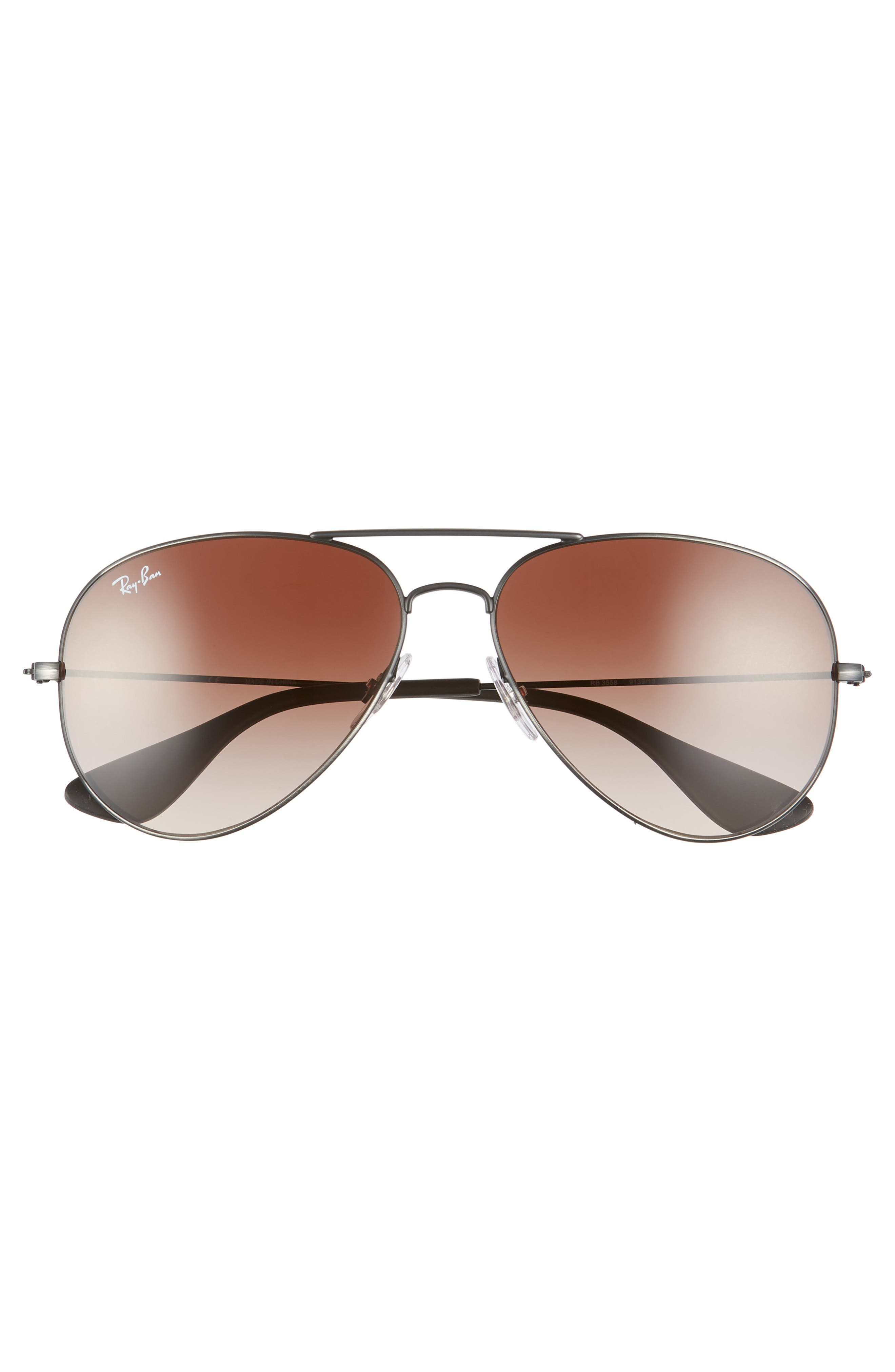 Pilot 58mm Gradient Sunglasses,                             Alternate thumbnail 2, color,                             MATTE BLACK