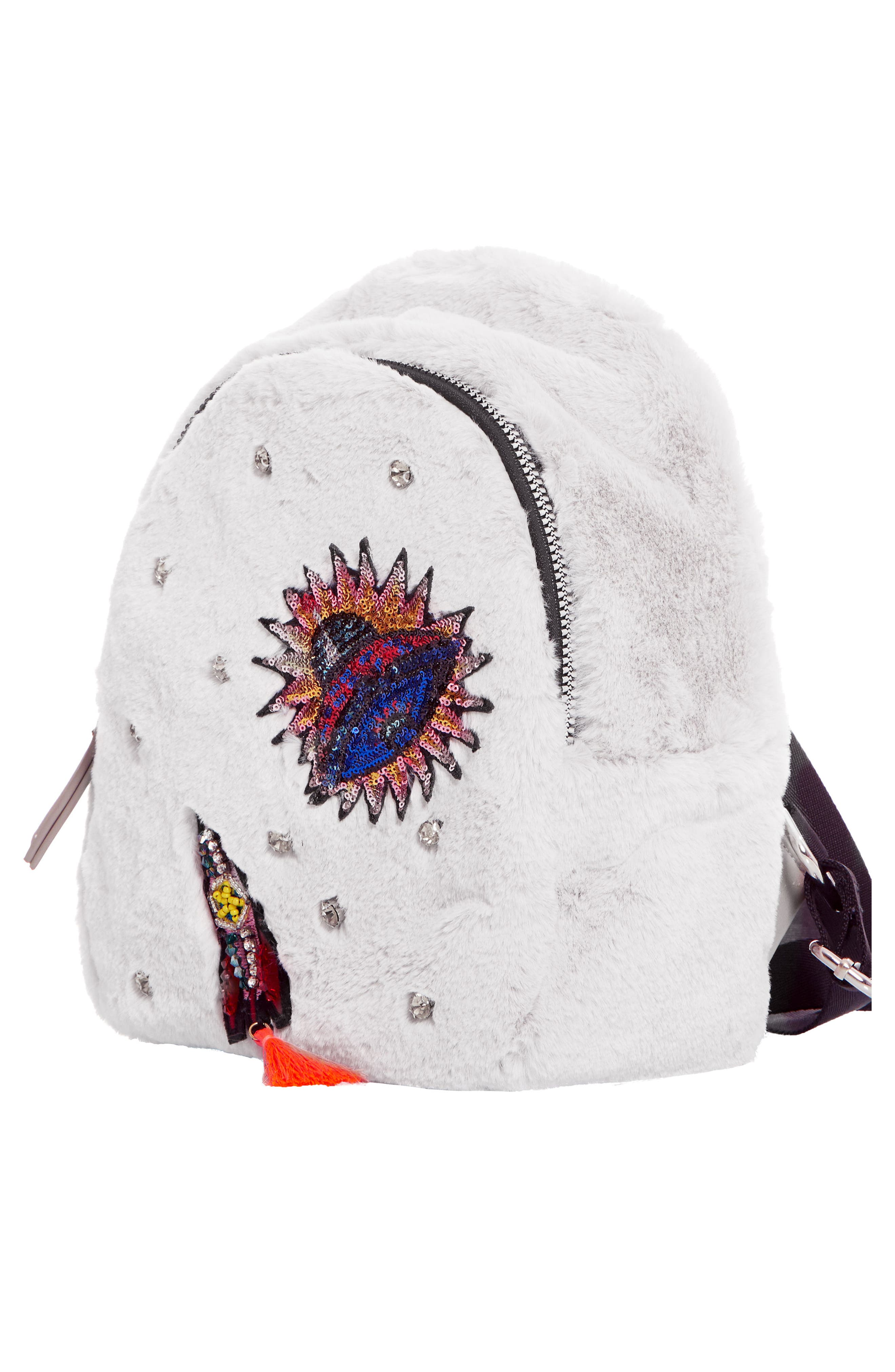 Rocket Ship Faux Fur Backpack,                             Alternate thumbnail 2, color,                             GREY