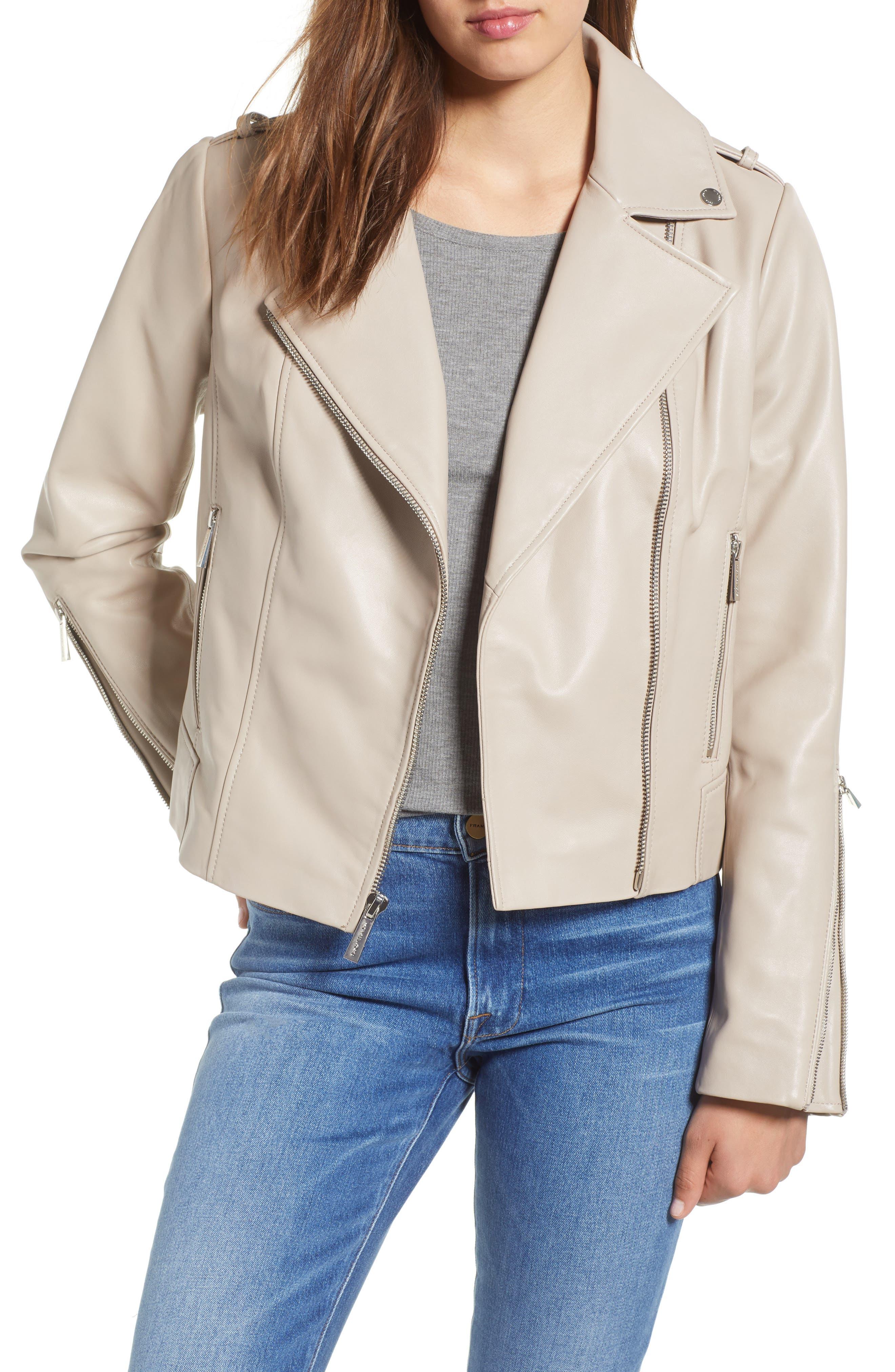 Classic Leather Moto Jacket,                             Main thumbnail 2, color,