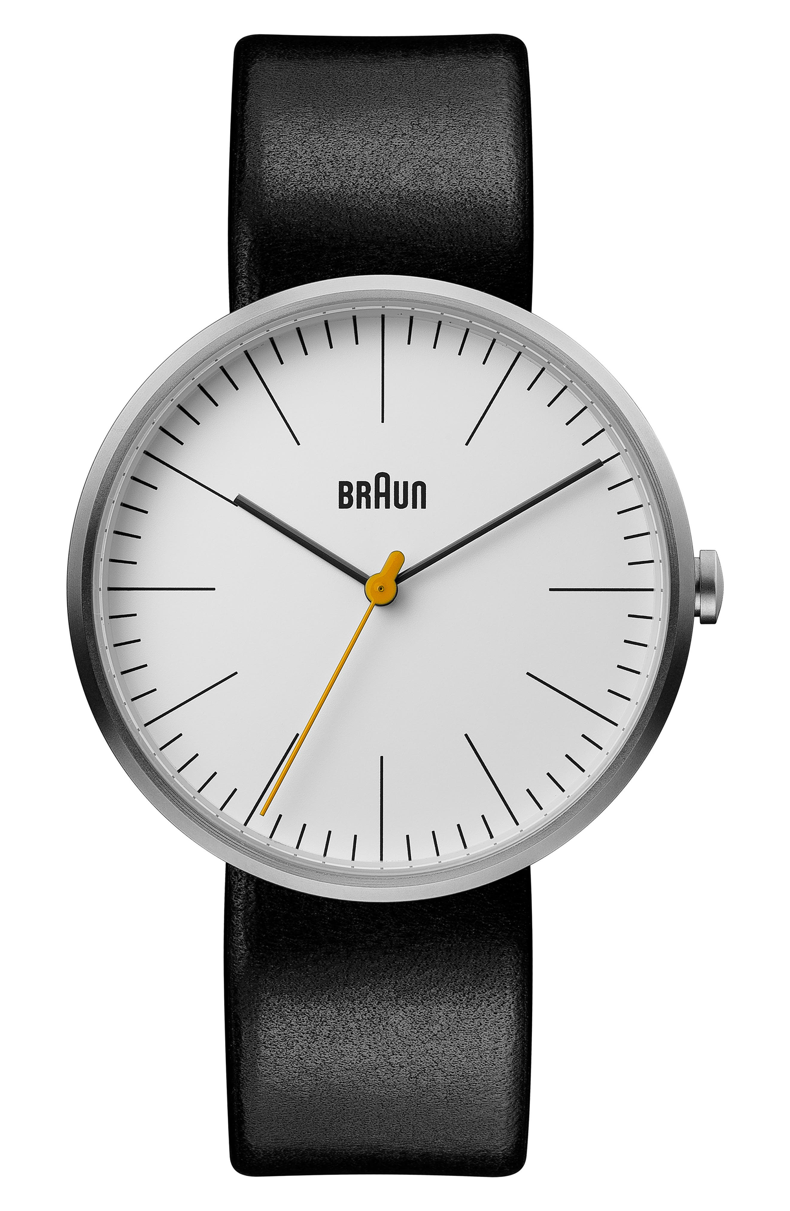 BRAUN Classic Leather Strap Watch, 42Mm in Black/ White/ Silver