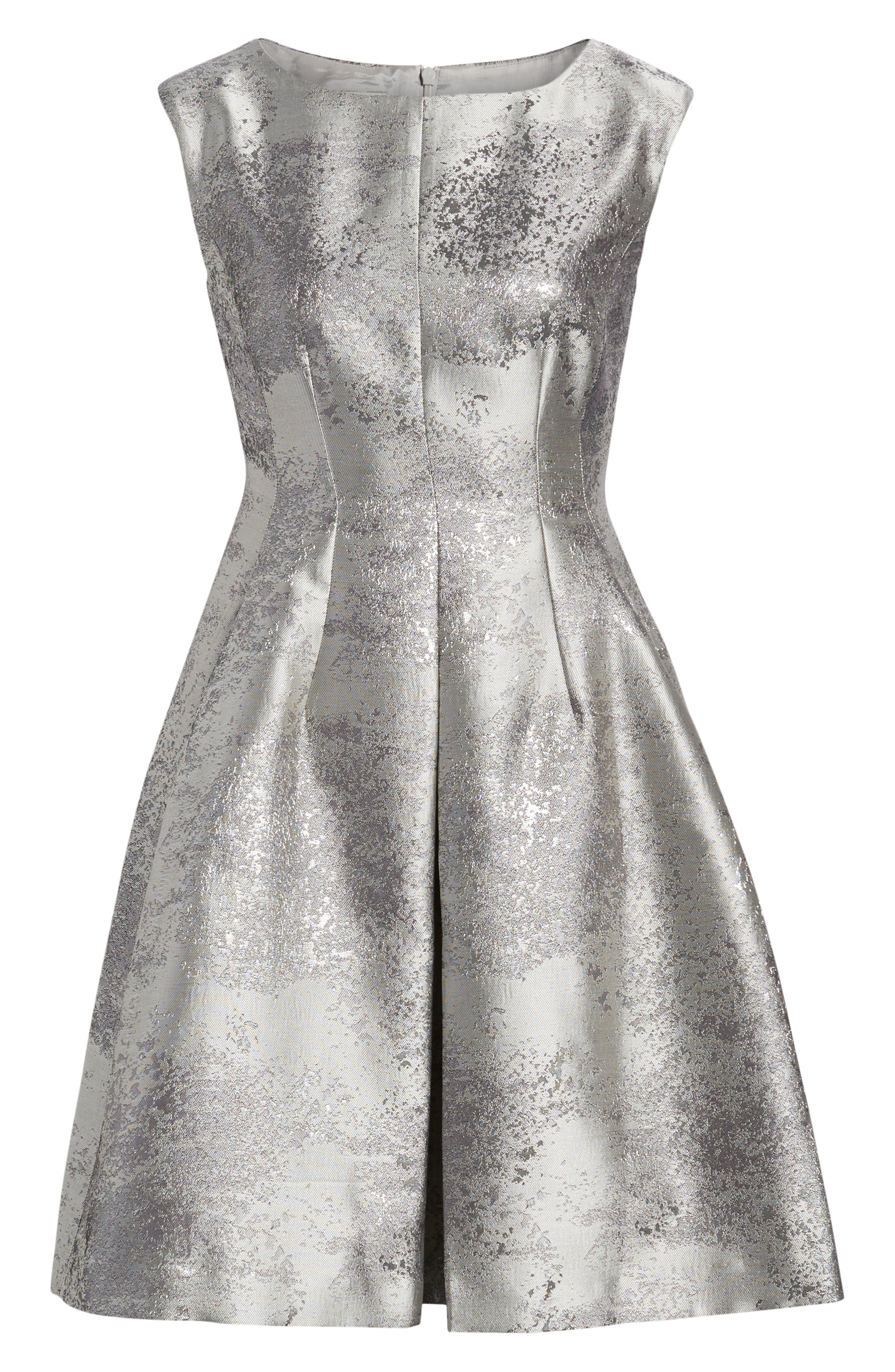 ANNE KLEIN,                             Satin Jacquard Fit & Flare Dress,                             Alternate thumbnail 6, color,                             SILVER COMBO