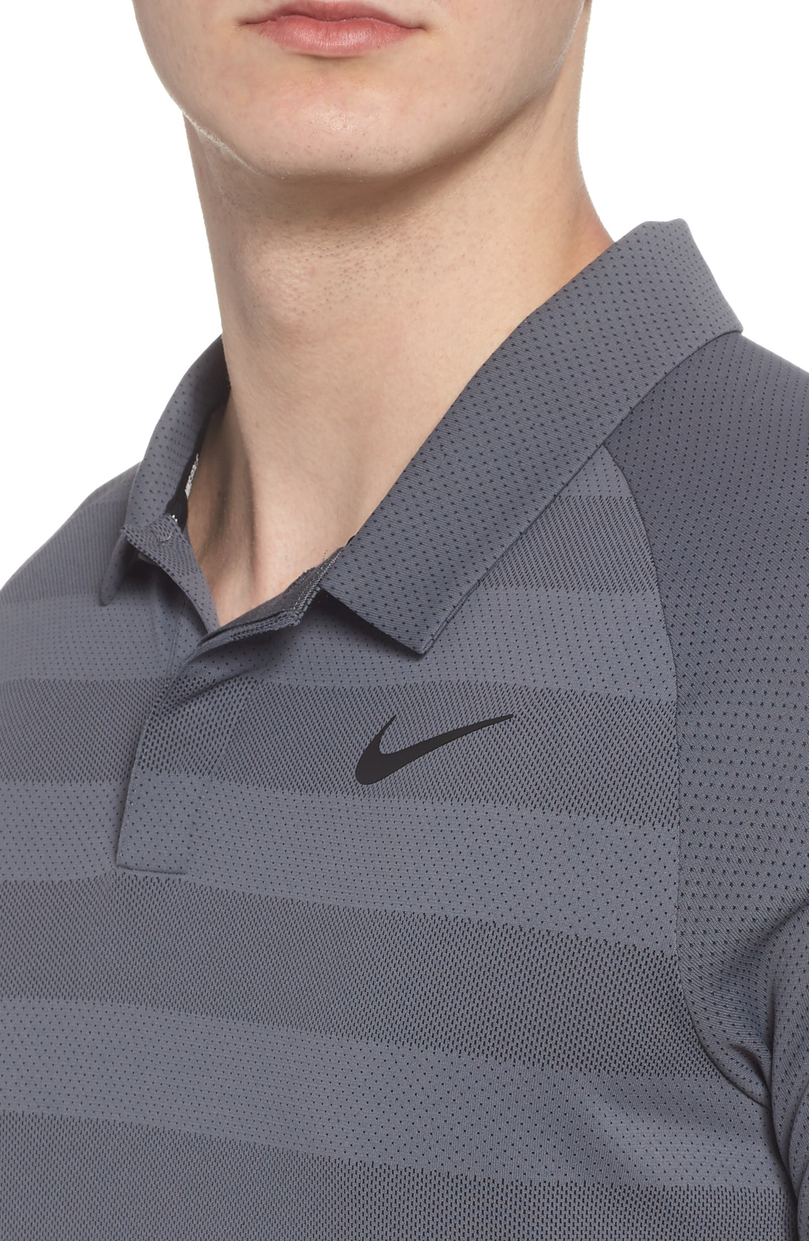 NIKE,                             Stripe Polo Shirt,                             Alternate thumbnail 4, color,                             021