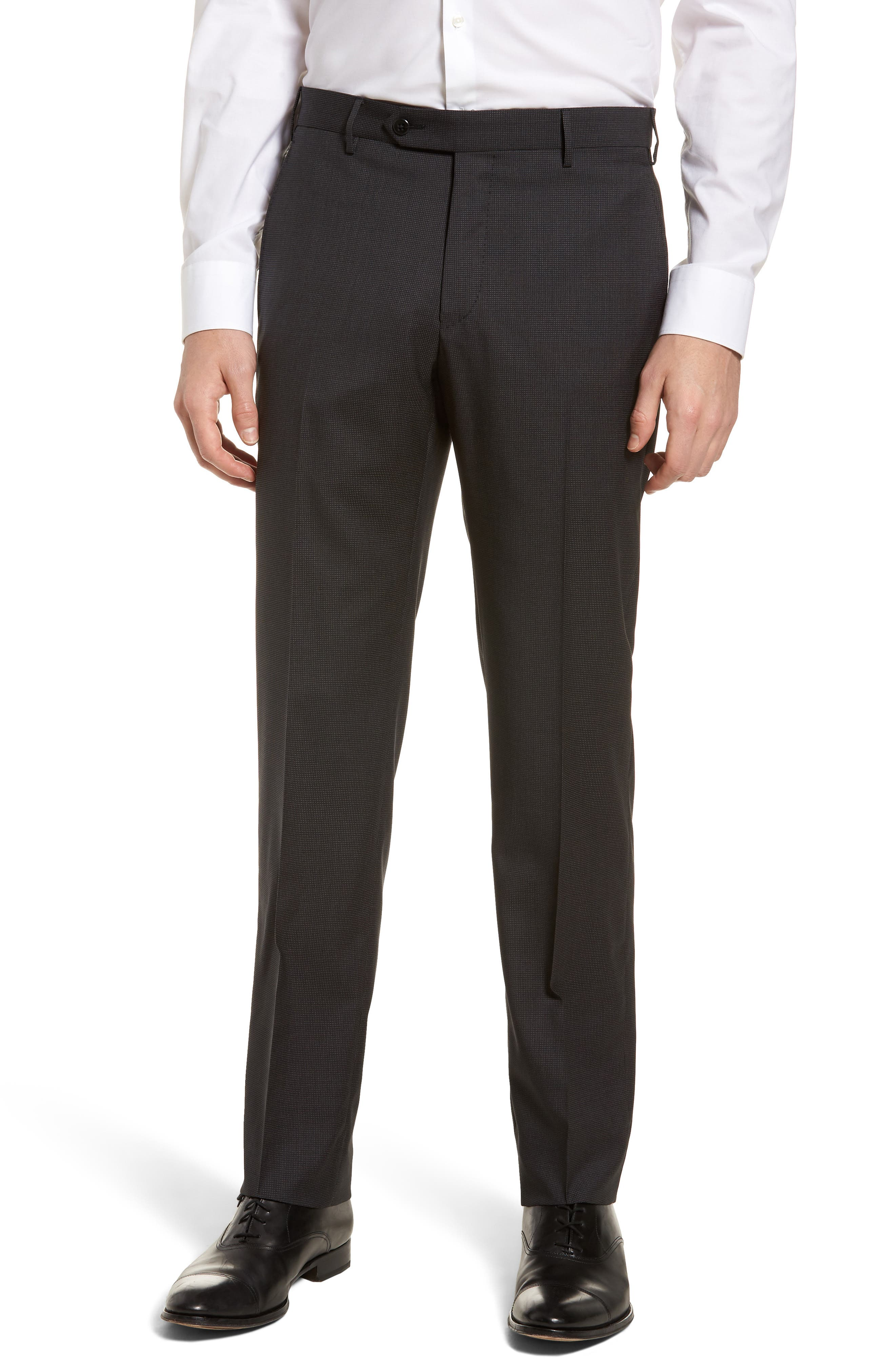Parker Flat Front Pindot Wool Trousers,                             Main thumbnail 1, color,                             020