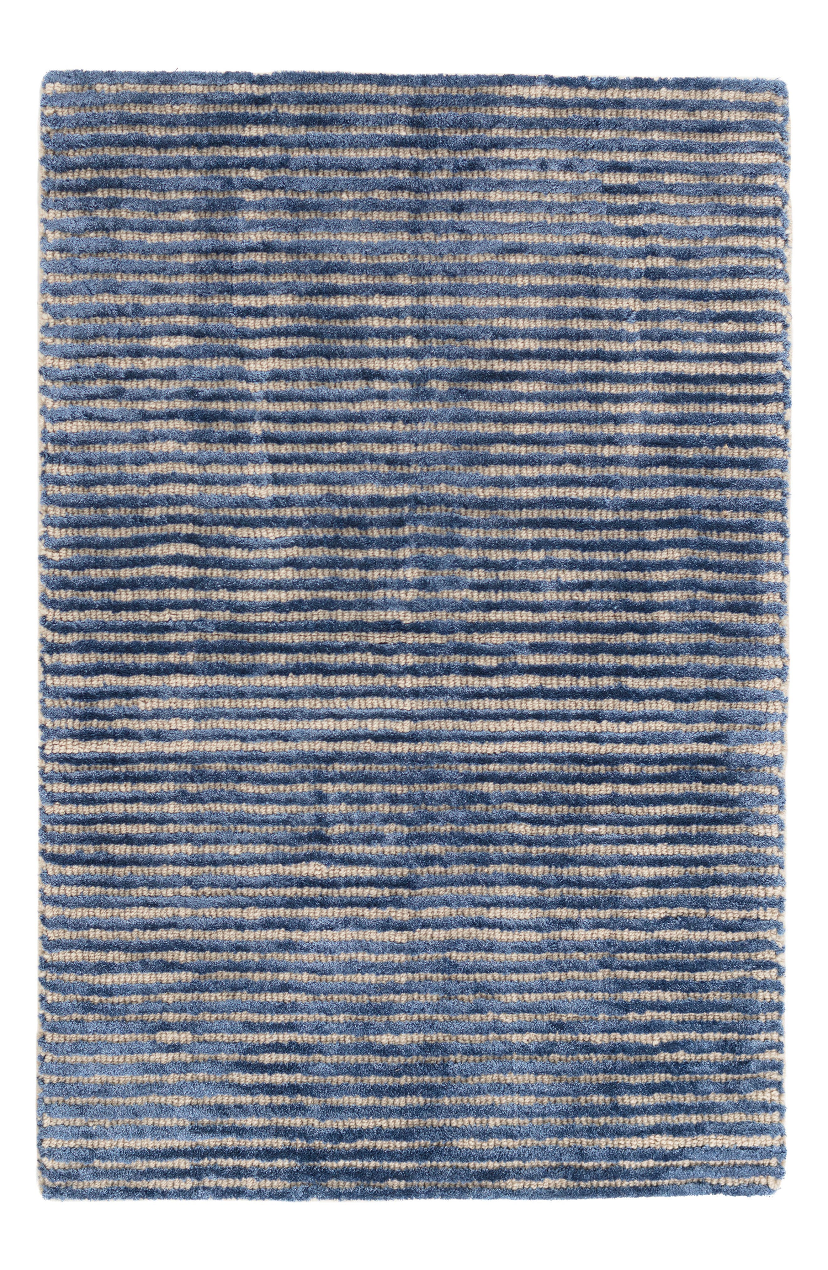 Stripe Hand Knotted Rug,                             Main thumbnail 1, color,                             INDIGO