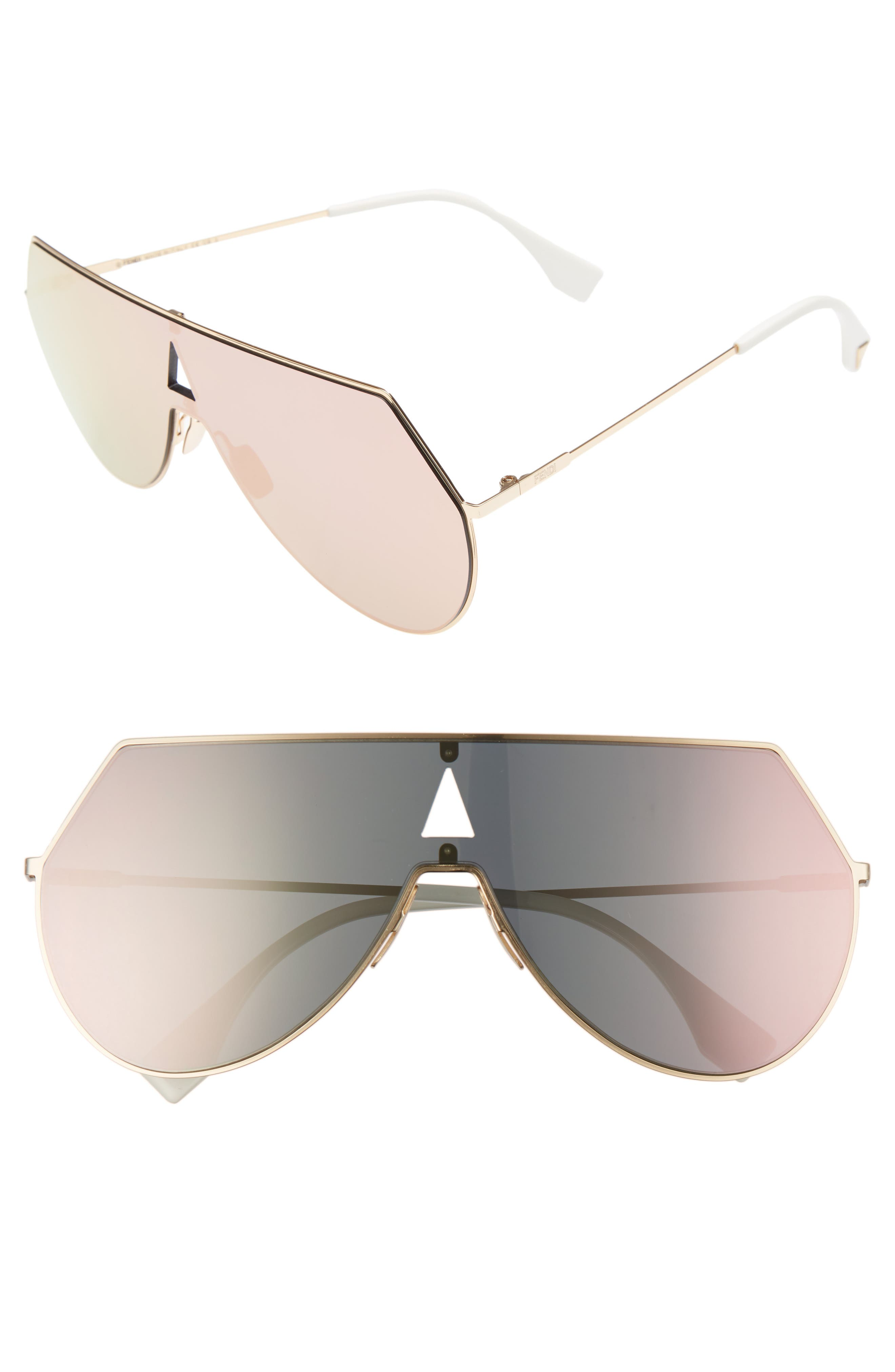 99mm Eyeline Aviator Sunglasses,                             Main thumbnail 1, color,                             ROSE GOLD