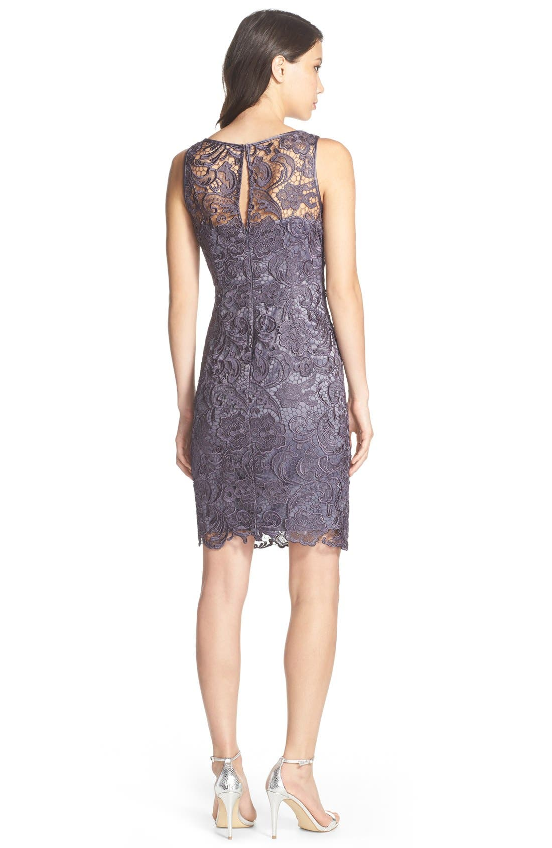 Illusion Bodice Lace Sheath Dress,                             Alternate thumbnail 24, color,