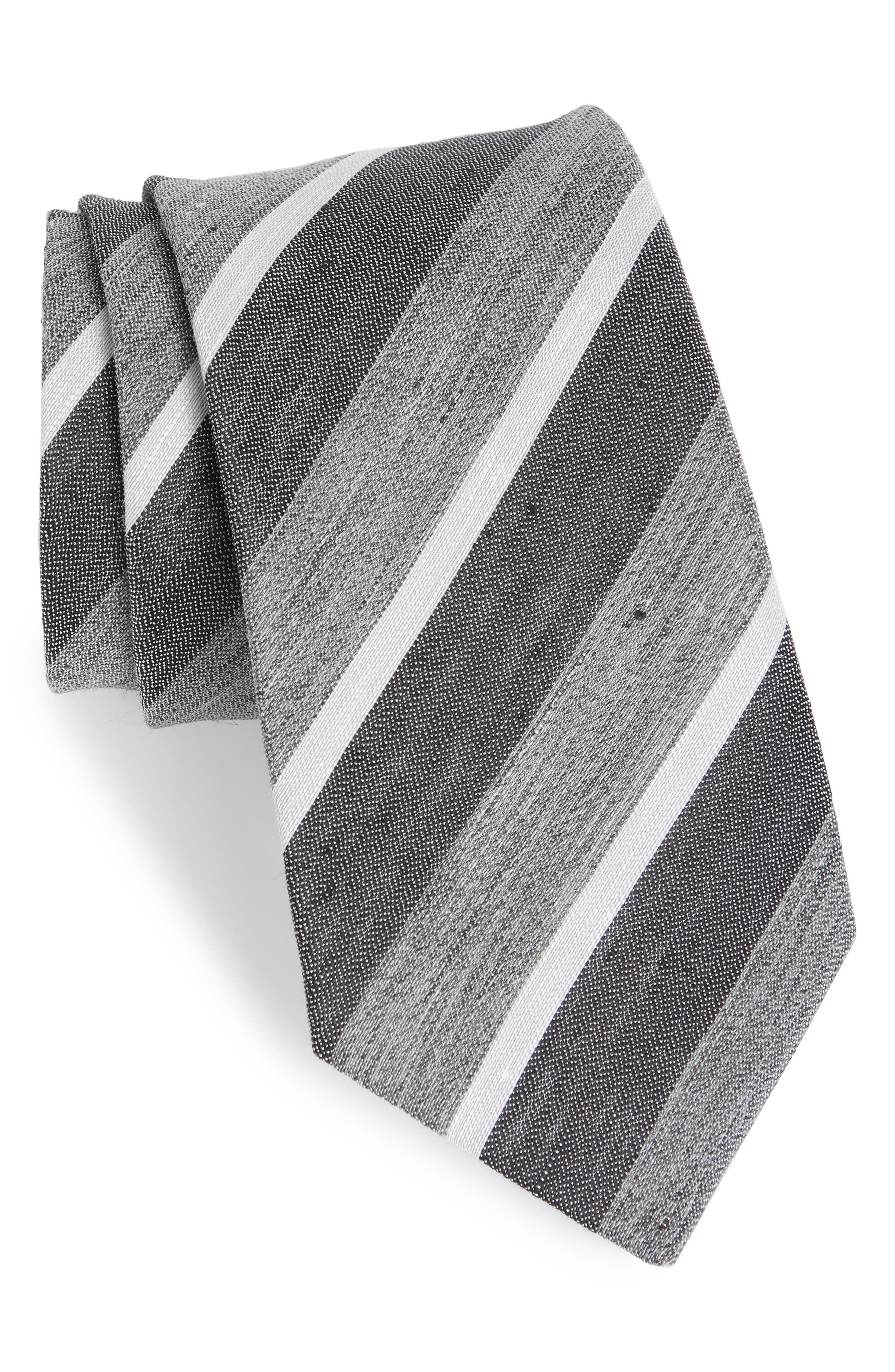 Stripe Linen & Silk Tie,                             Main thumbnail 1, color,                             027