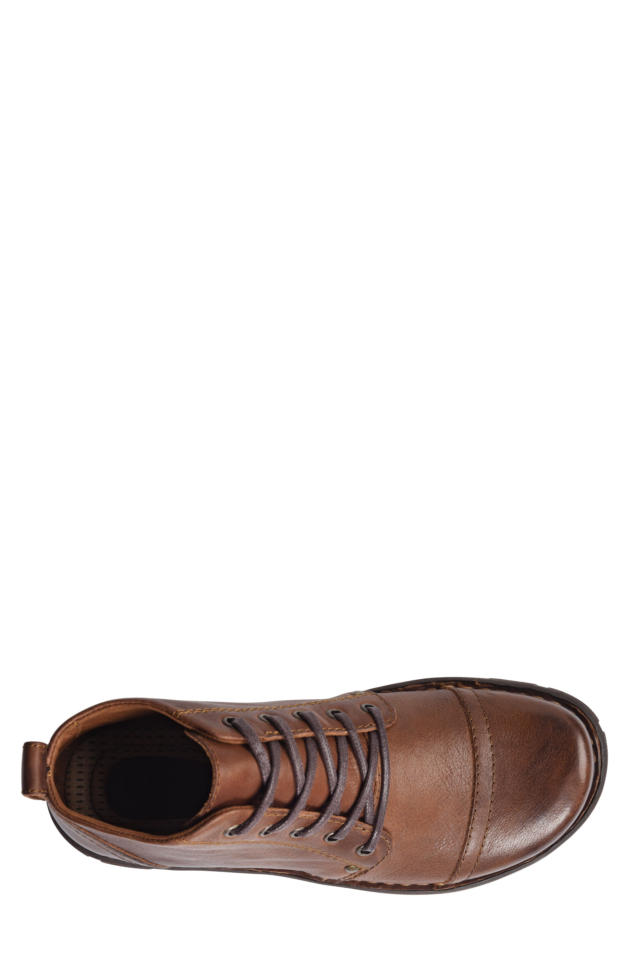 Boulder Cap Toe Boot,                             Alternate thumbnail 5, color,                             BROWN LEATHER