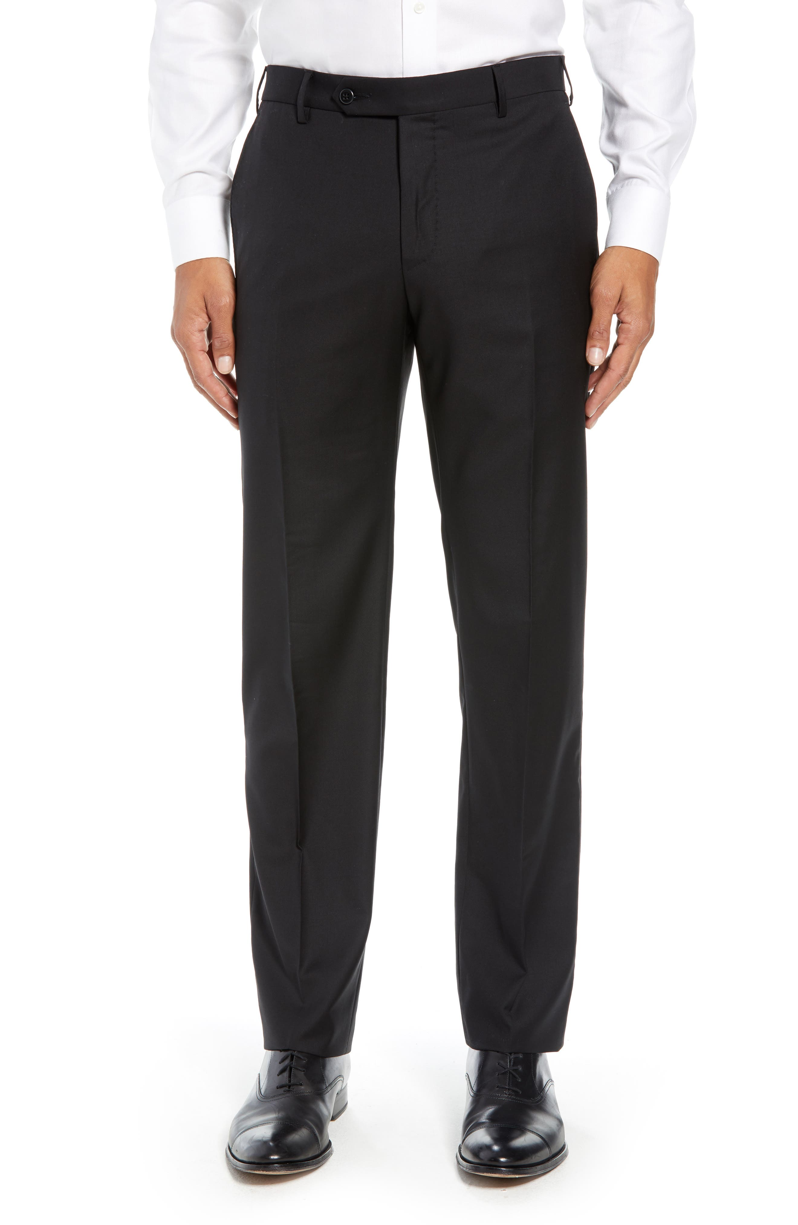ZANELLA Parker Flat Front Solid Wool Trousers in Black