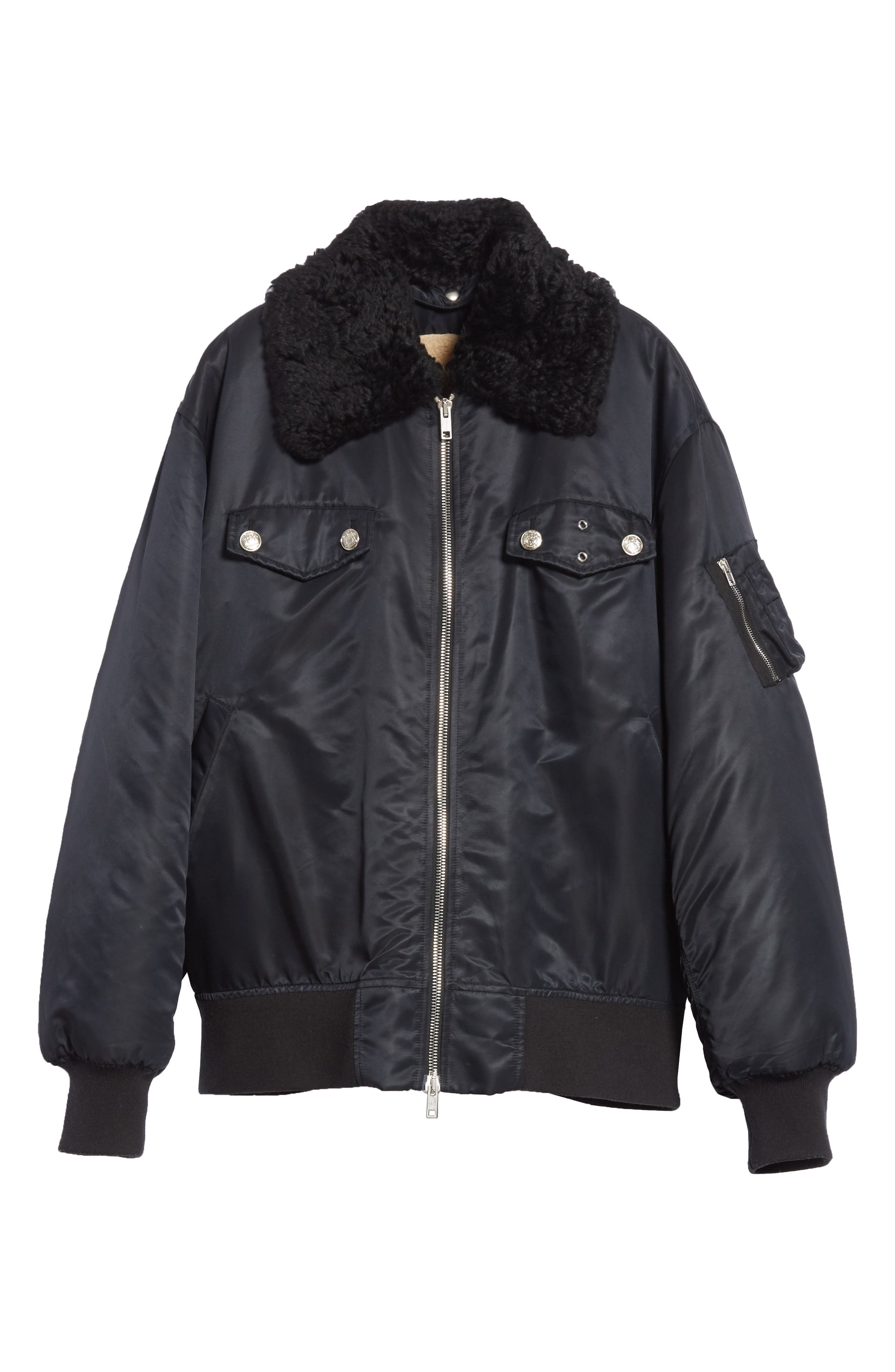 Oversize Bomber Jacket with Genuine Shearling Collar,                             Alternate thumbnail 5, color,                             BLACK