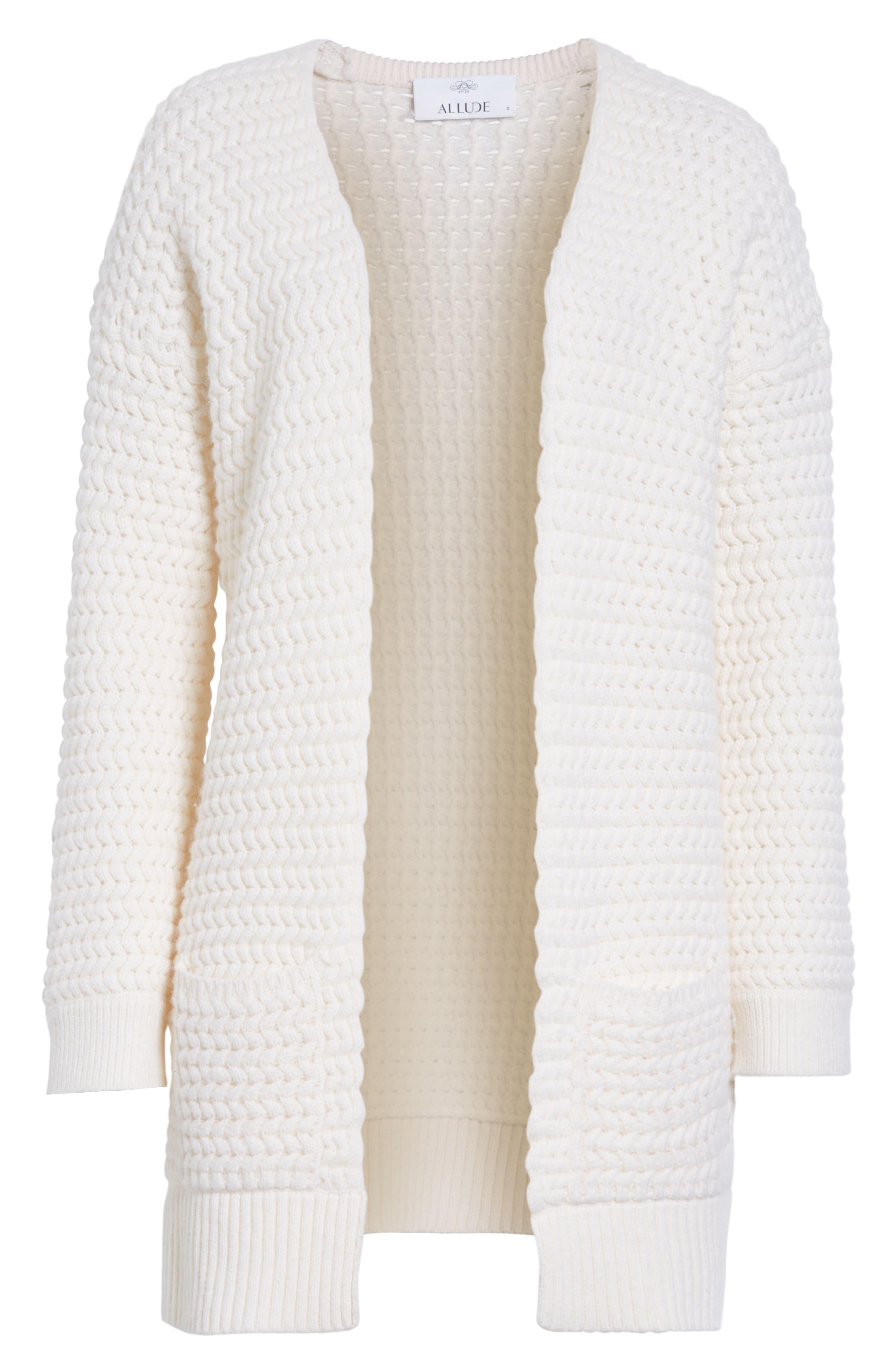 Wavy Knit Merino Wool & Cashmere Cardigan,                             Alternate thumbnail 6, color,                             905