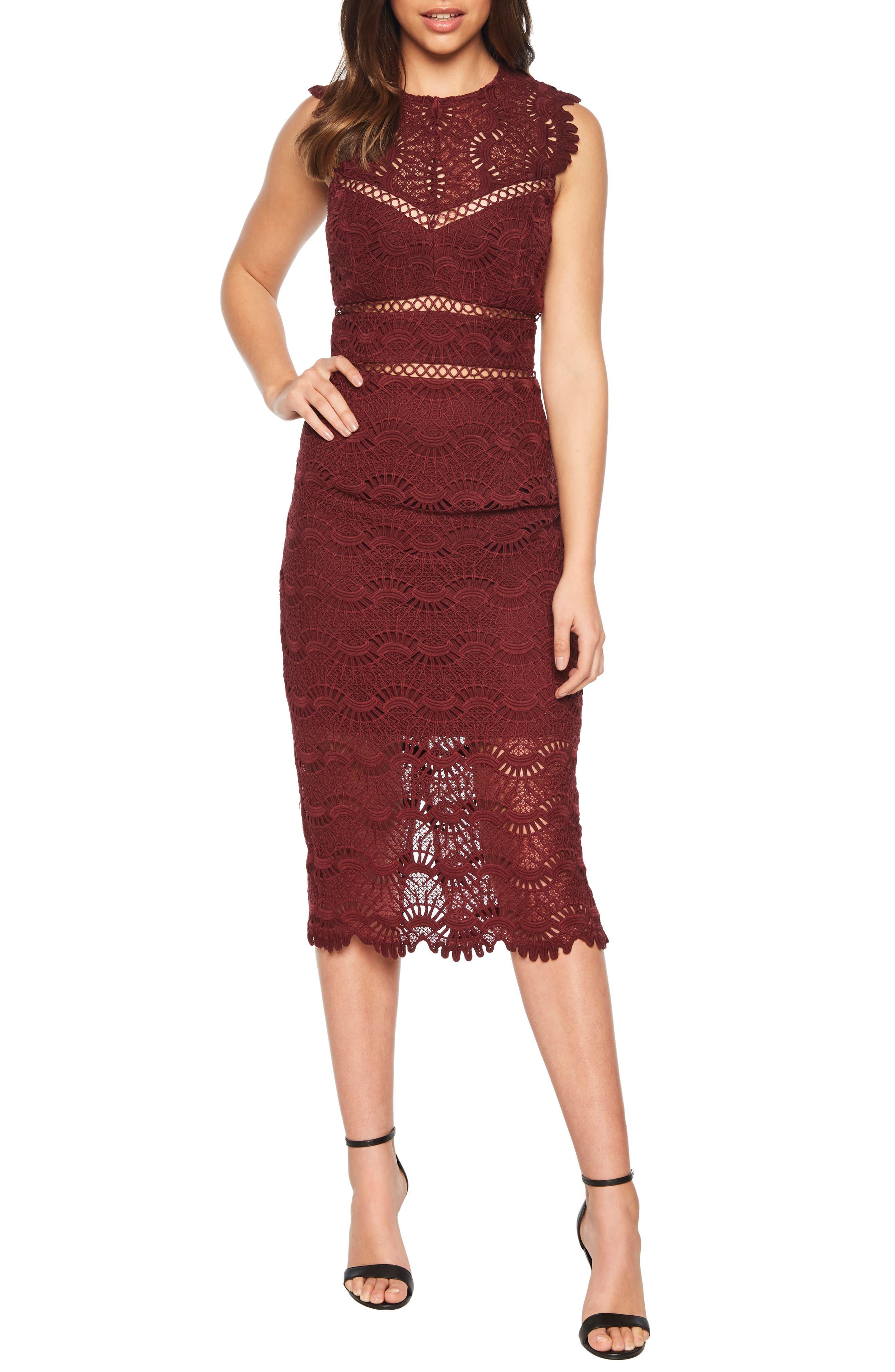 Mariano Lace Sheath Dress,                             Alternate thumbnail 6, color,                             601