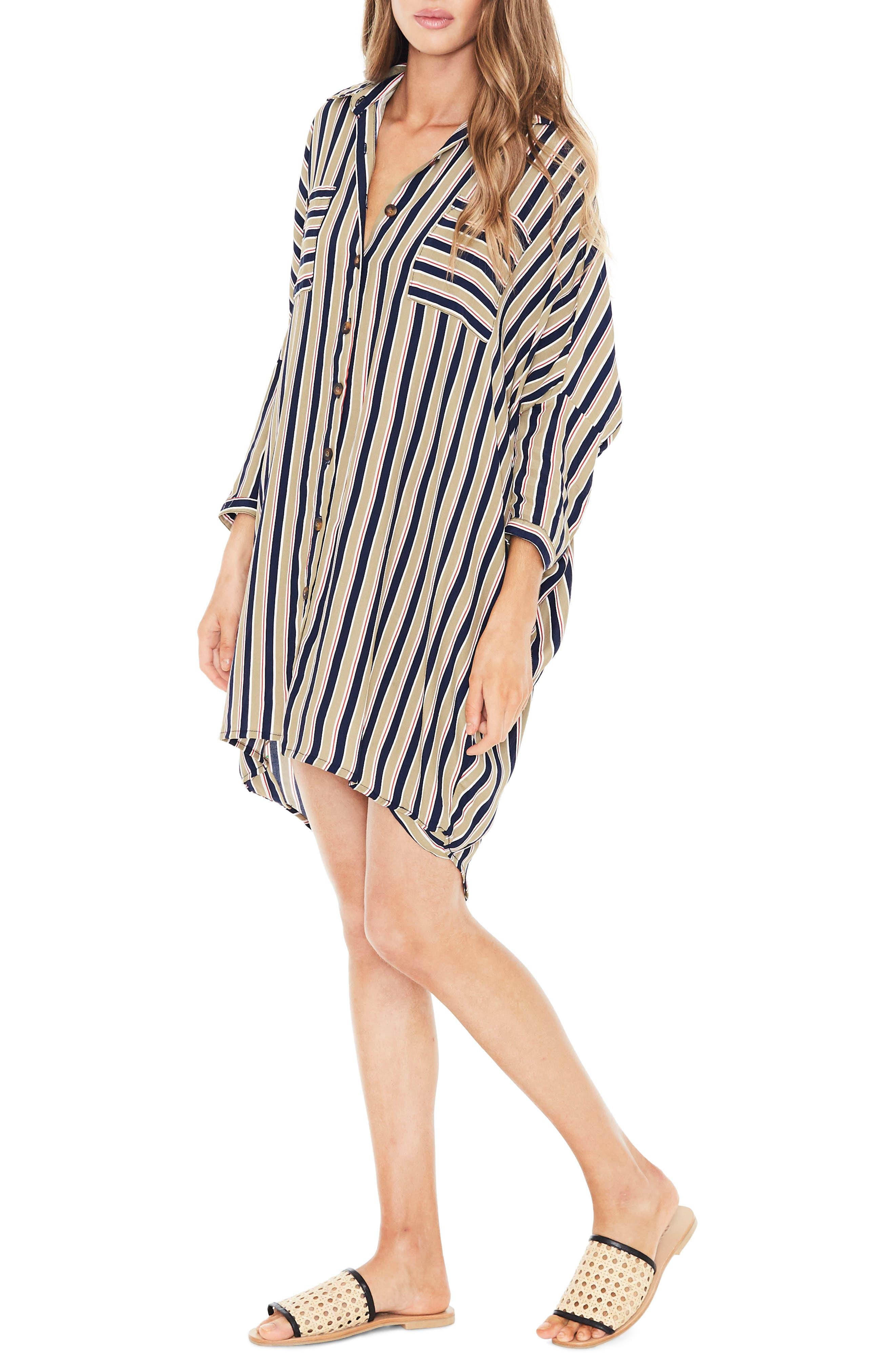 Spencer Stripe Shirtdress,                             Alternate thumbnail 3, color,                             TRENTINI STRIPE PRINT