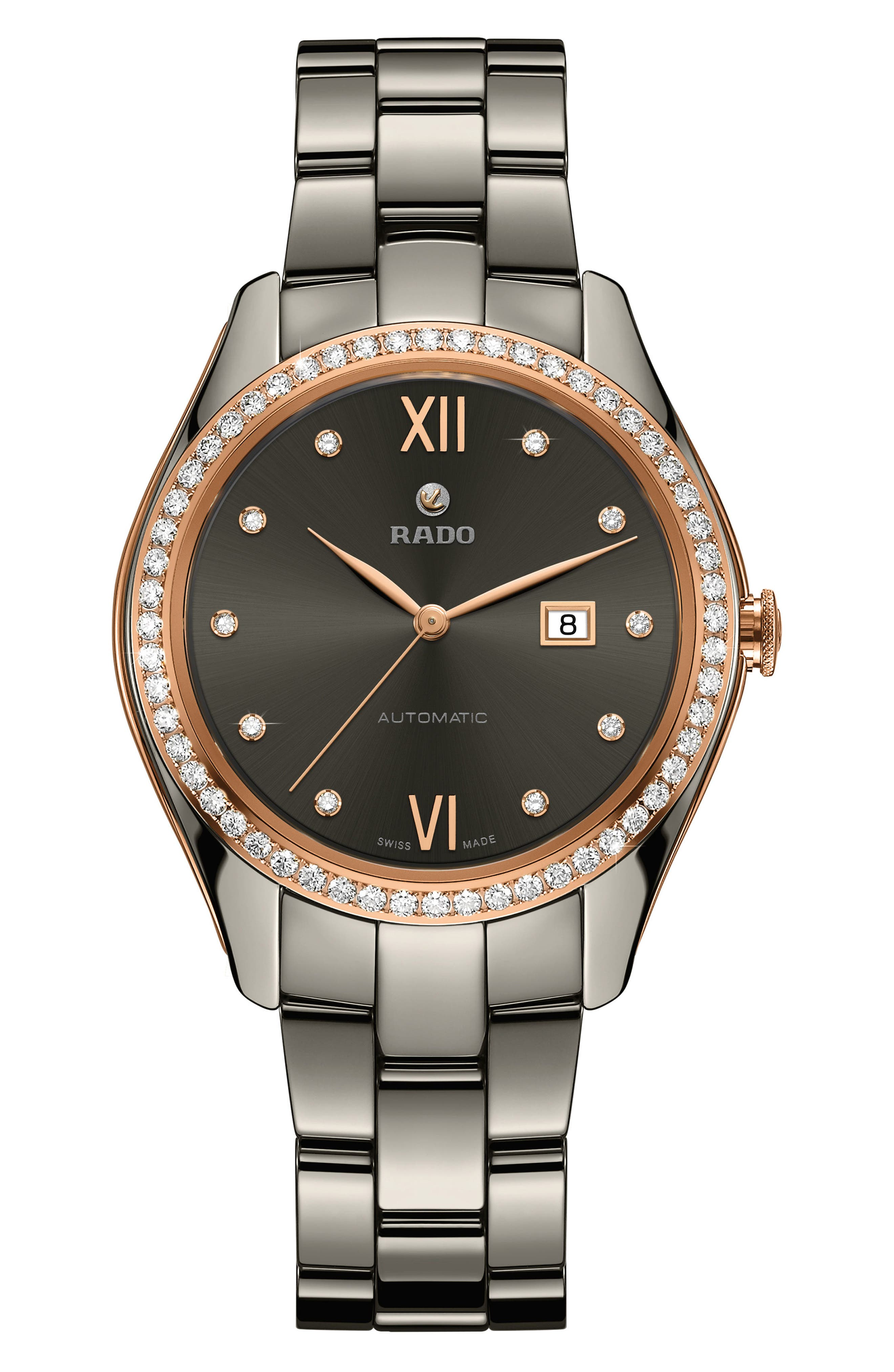 HyperChrome Automatic Diamond Ceramic Bracelet Watch, 36mm,                             Main thumbnail 1, color,                             PLASMA/ ROSE GOLD