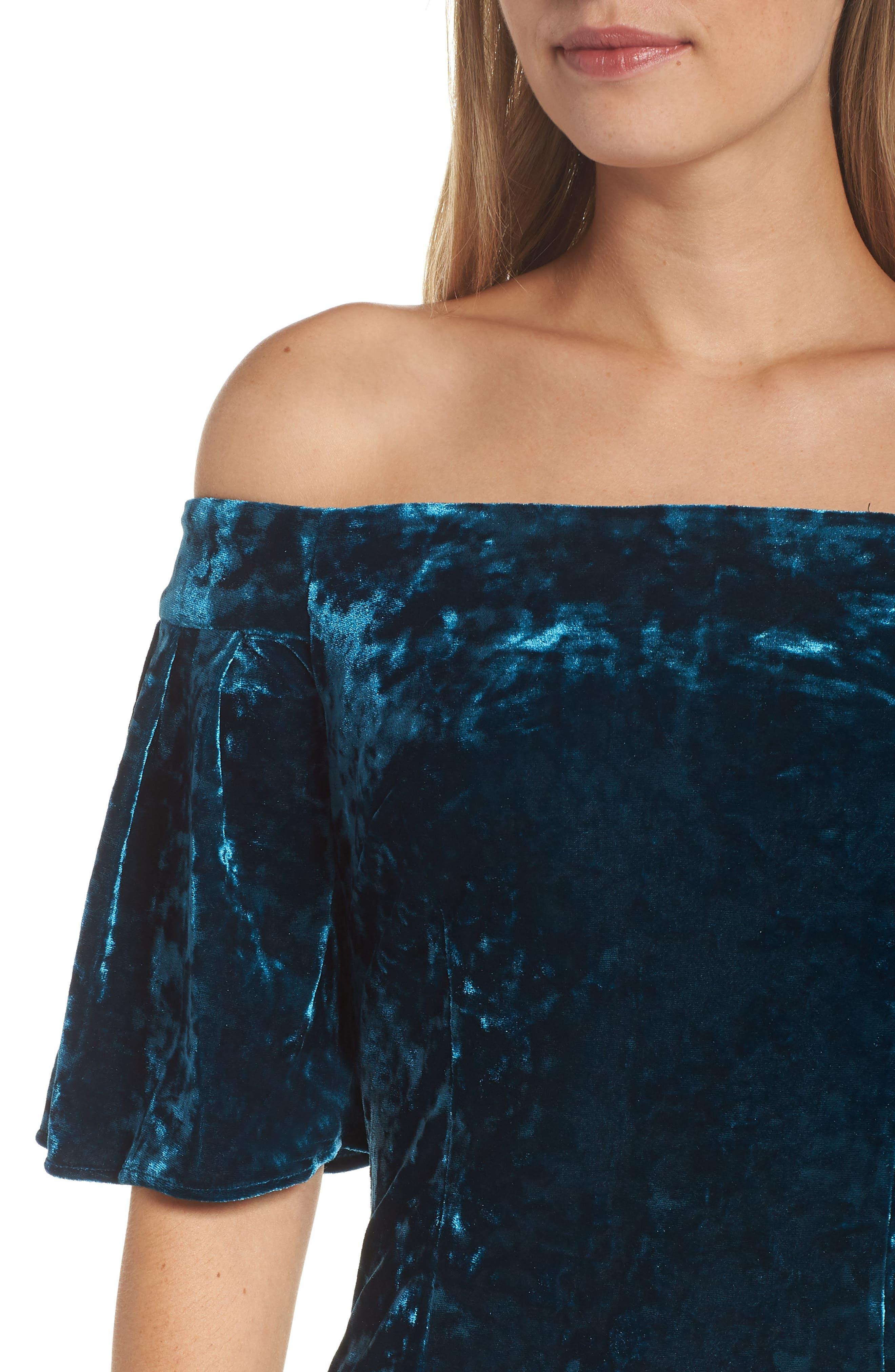 Off the Shoulder Velvet Dress,                             Alternate thumbnail 4, color,                             PEACOCK