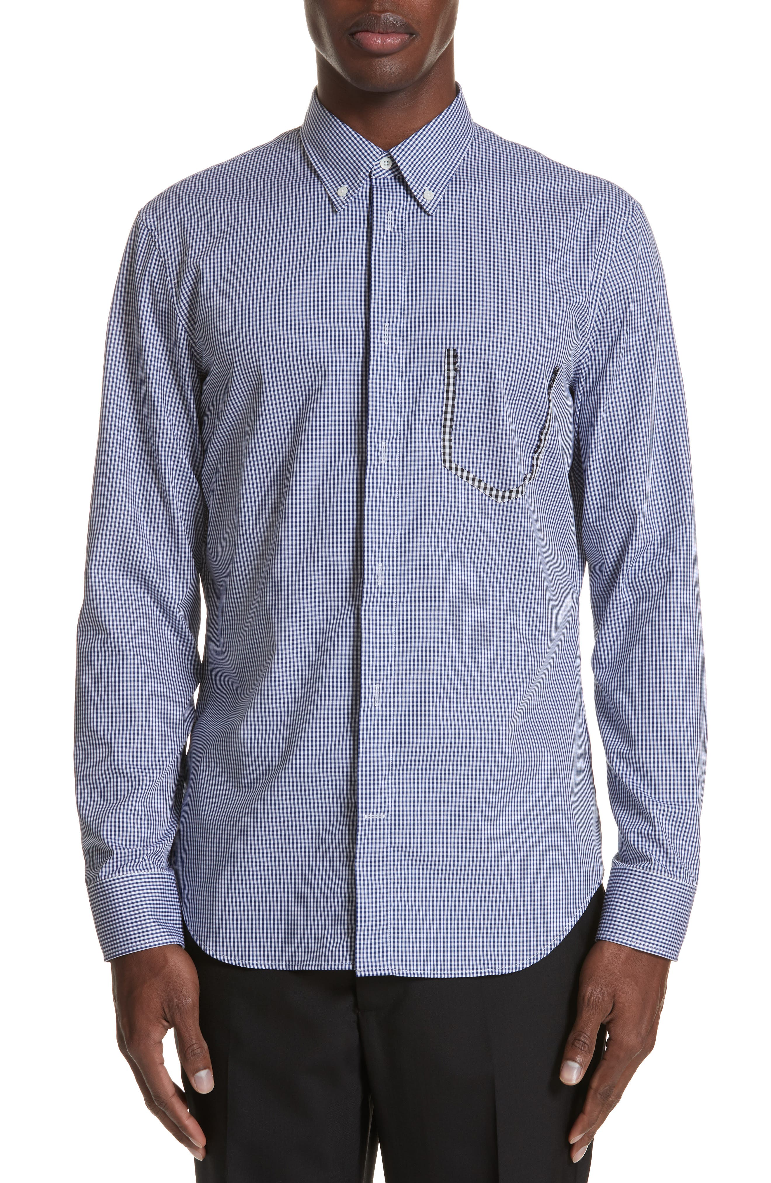 Gingham Woven Sport Shirt,                             Main thumbnail 1, color,                             BLUE