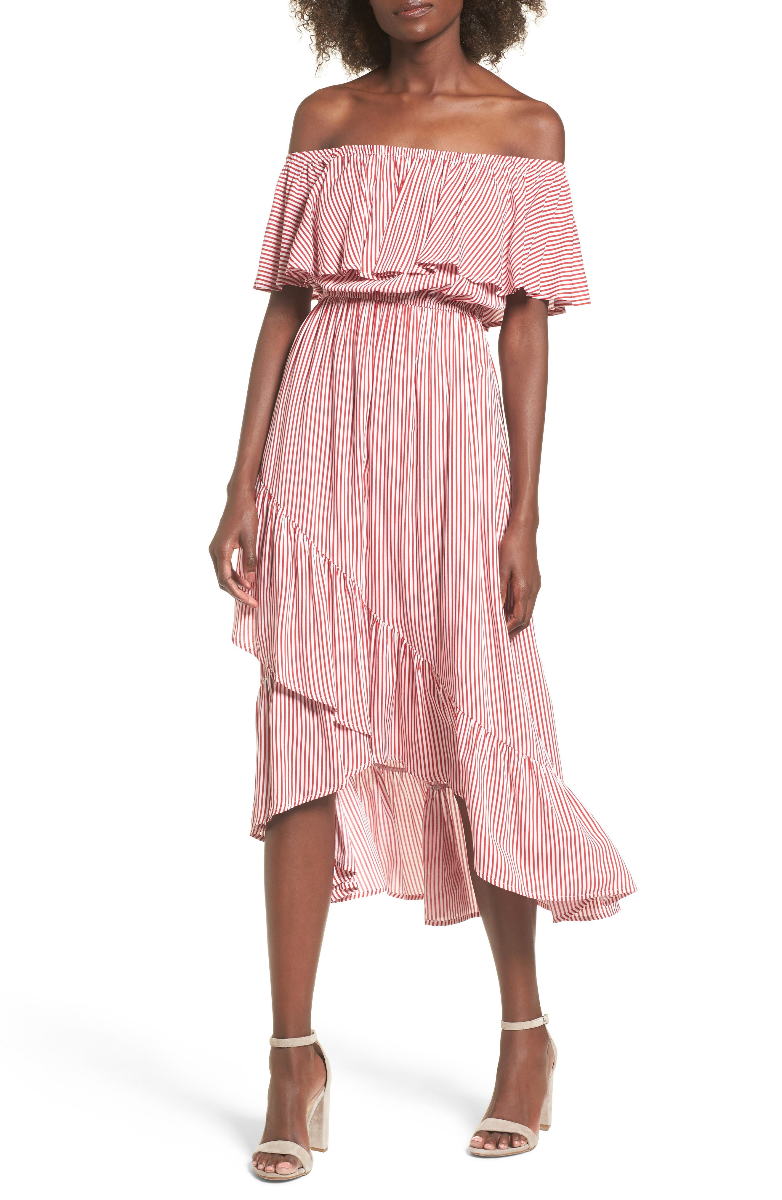 Off the Shoulder High/Low Dress,                             Main thumbnail 1, color,                             600