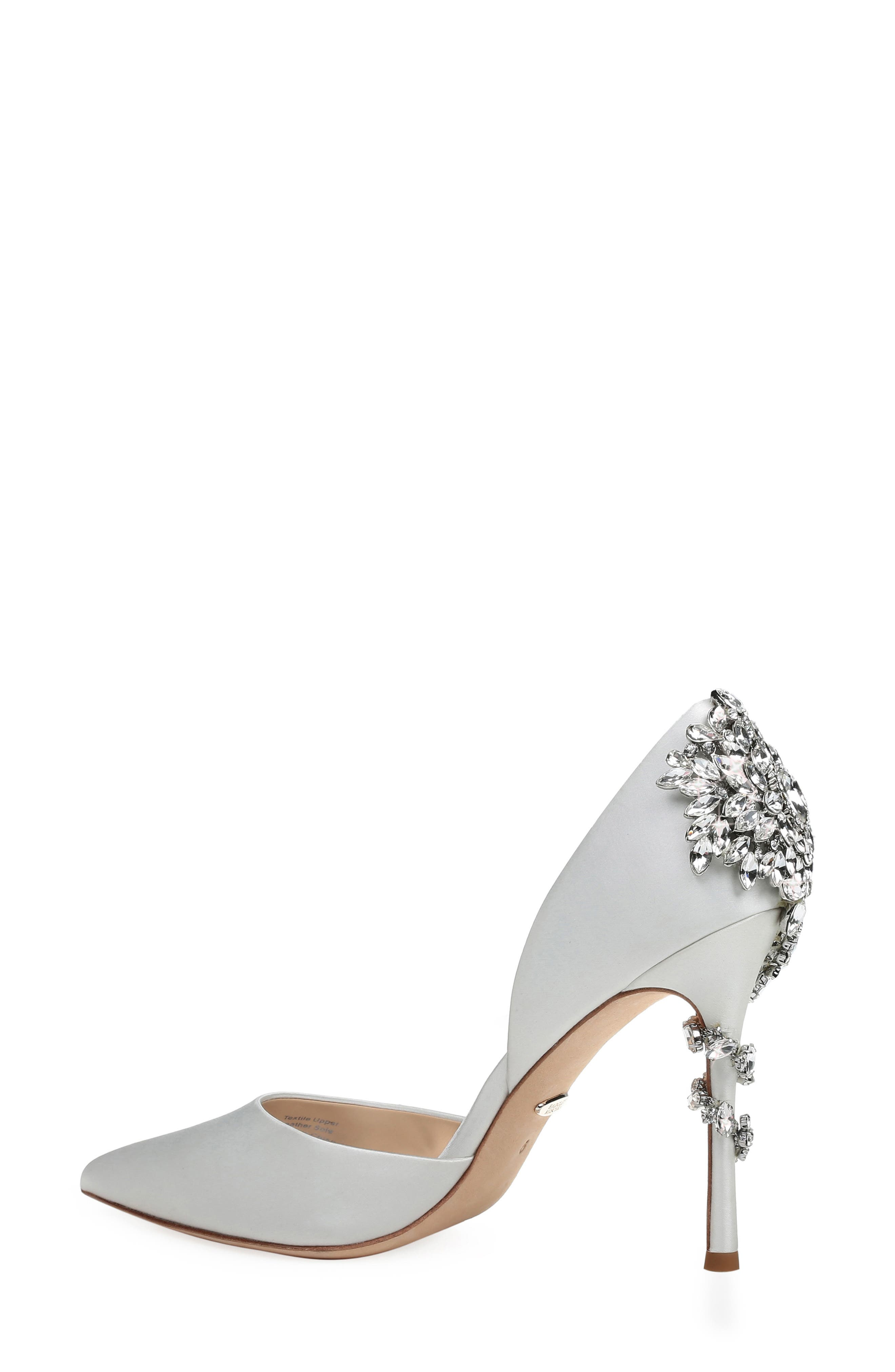 Vogue Crystal Embellished d'Orsay Pump,                             Alternate thumbnail 2, color,                             SOFT WHITE SATIN
