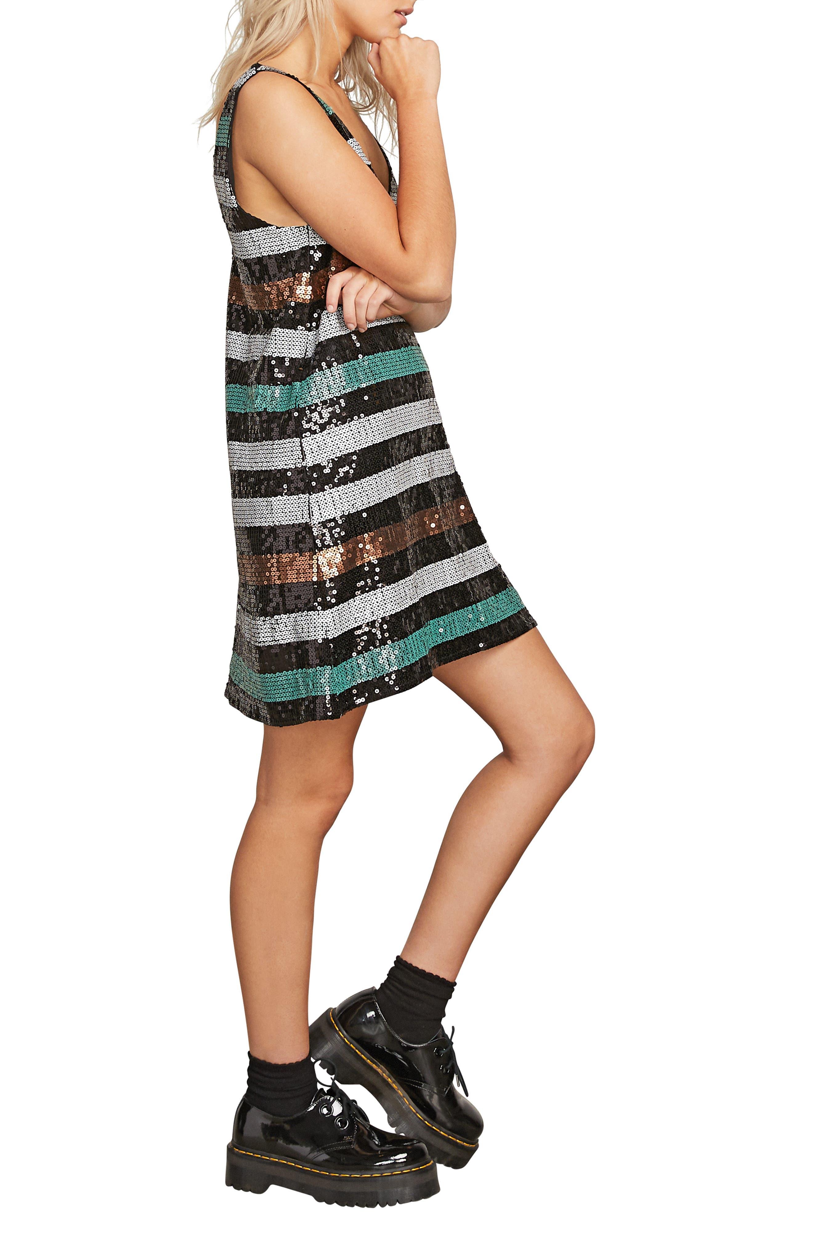 Seek Whence Sequin Stripe Dress,                             Alternate thumbnail 3, color,                             MULTI