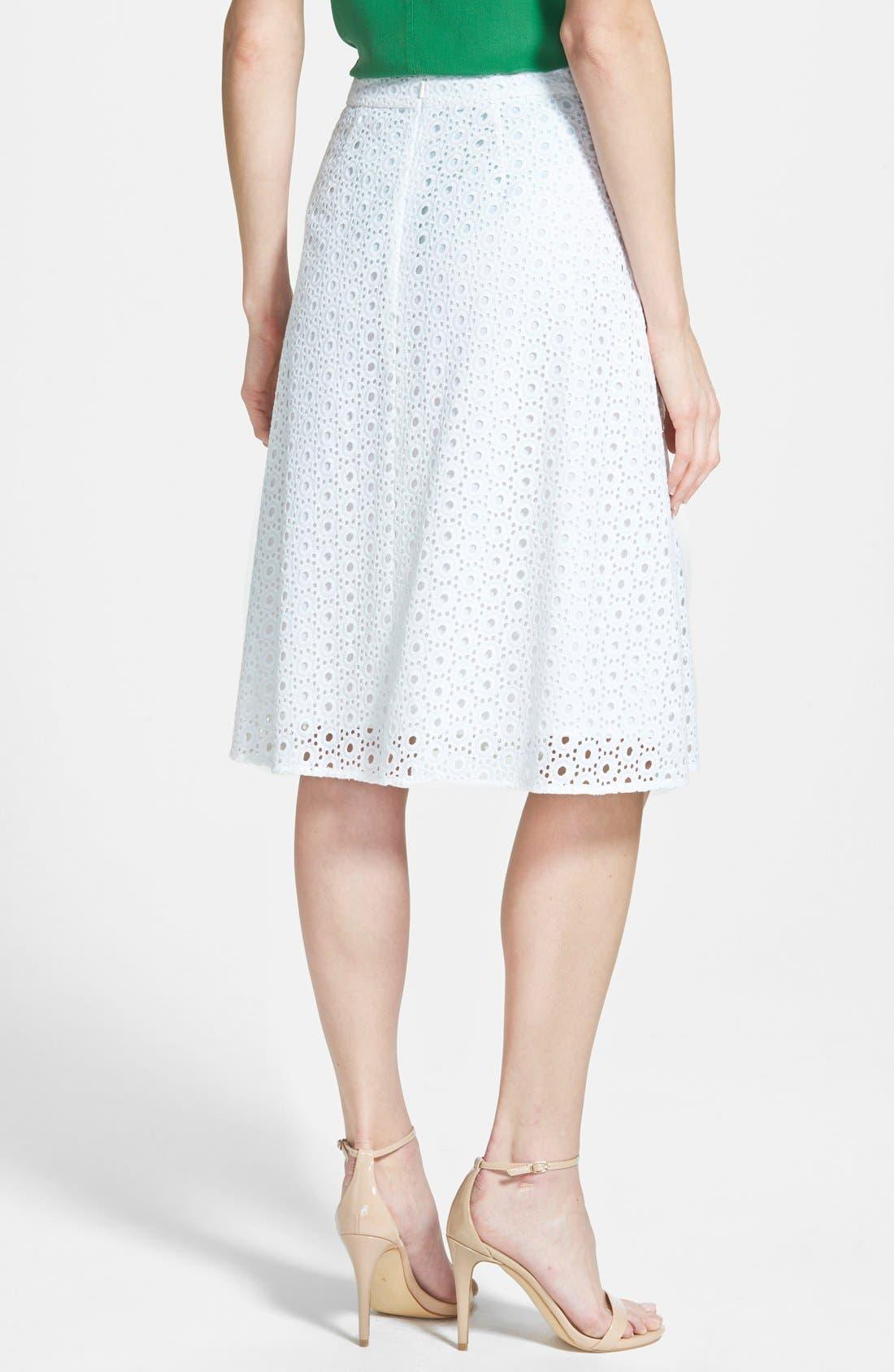 Eyelet Pleat Front Skirt,                             Alternate thumbnail 3, color,                             100
