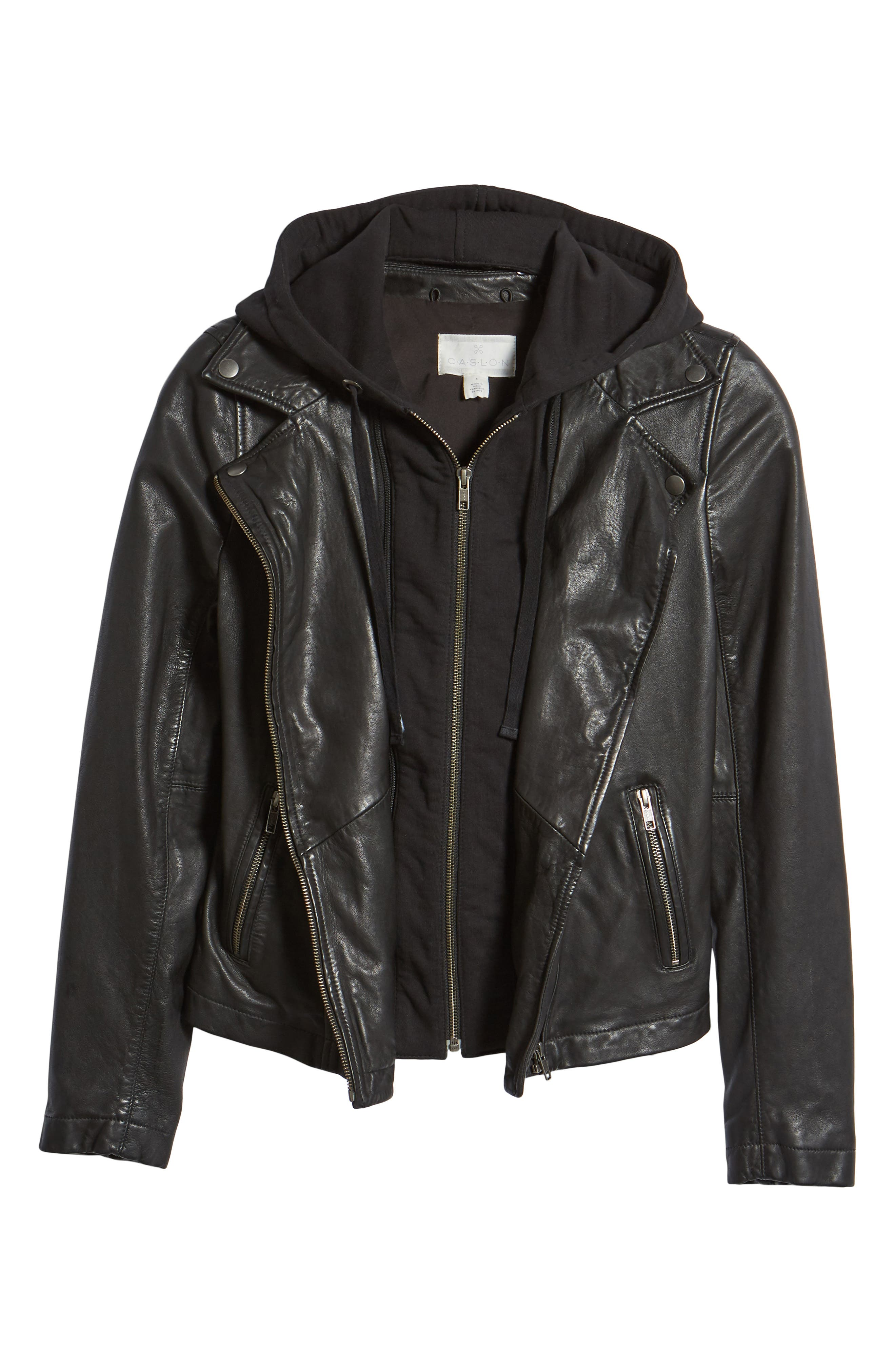 Leather Moto Jacket with Removable Hood,                             Alternate thumbnail 6, color,                             001