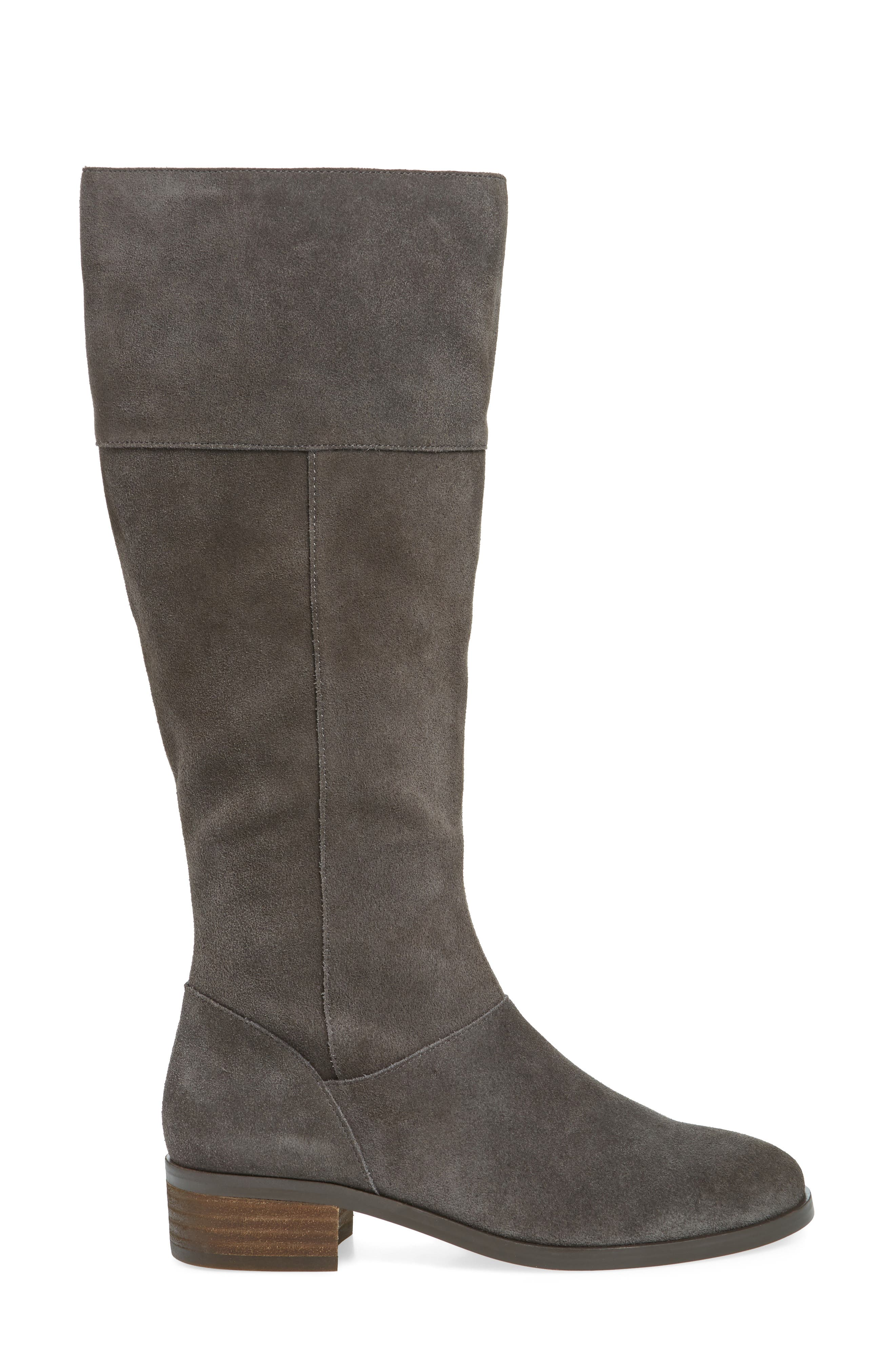Carlie Knee High Boot,                             Alternate thumbnail 3, color,                             IRON SUEDE