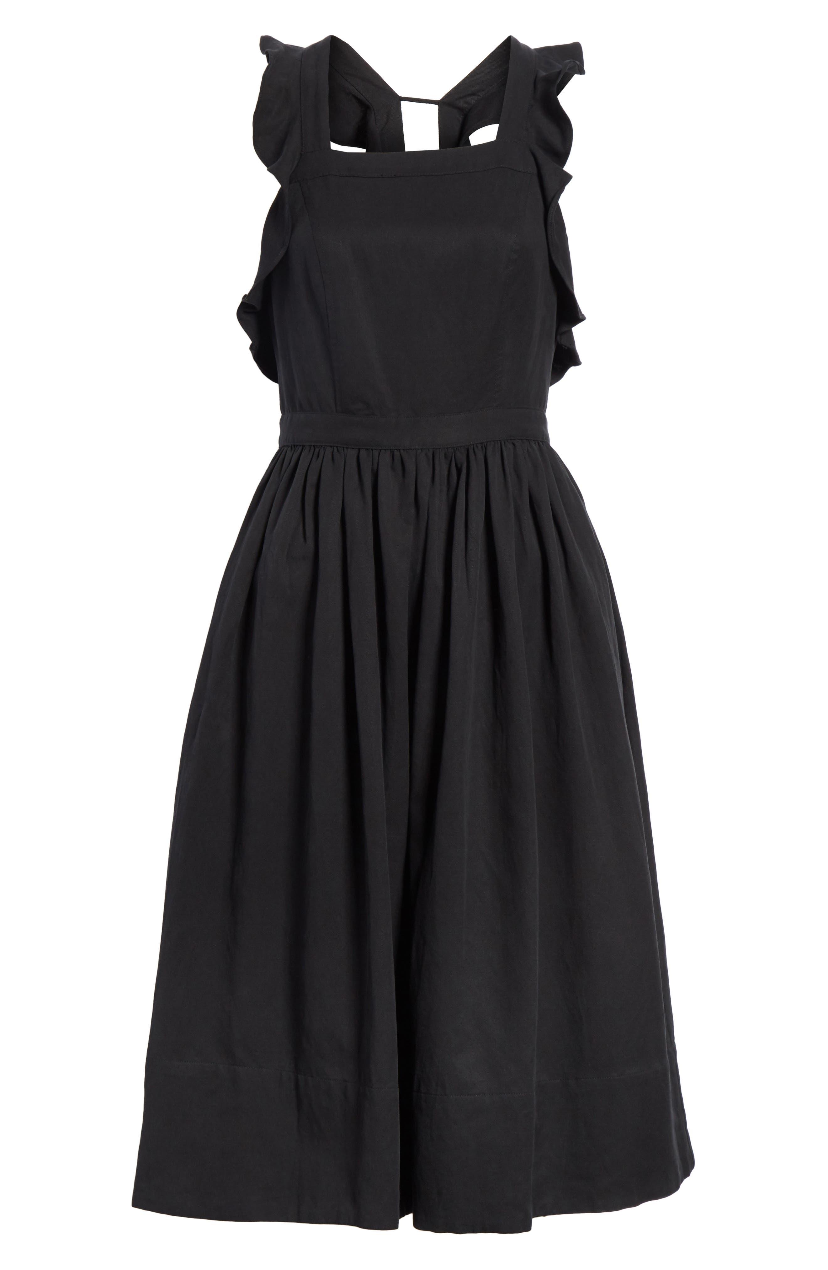 Willa Pinafore Dress,                             Alternate thumbnail 6, color,                             001