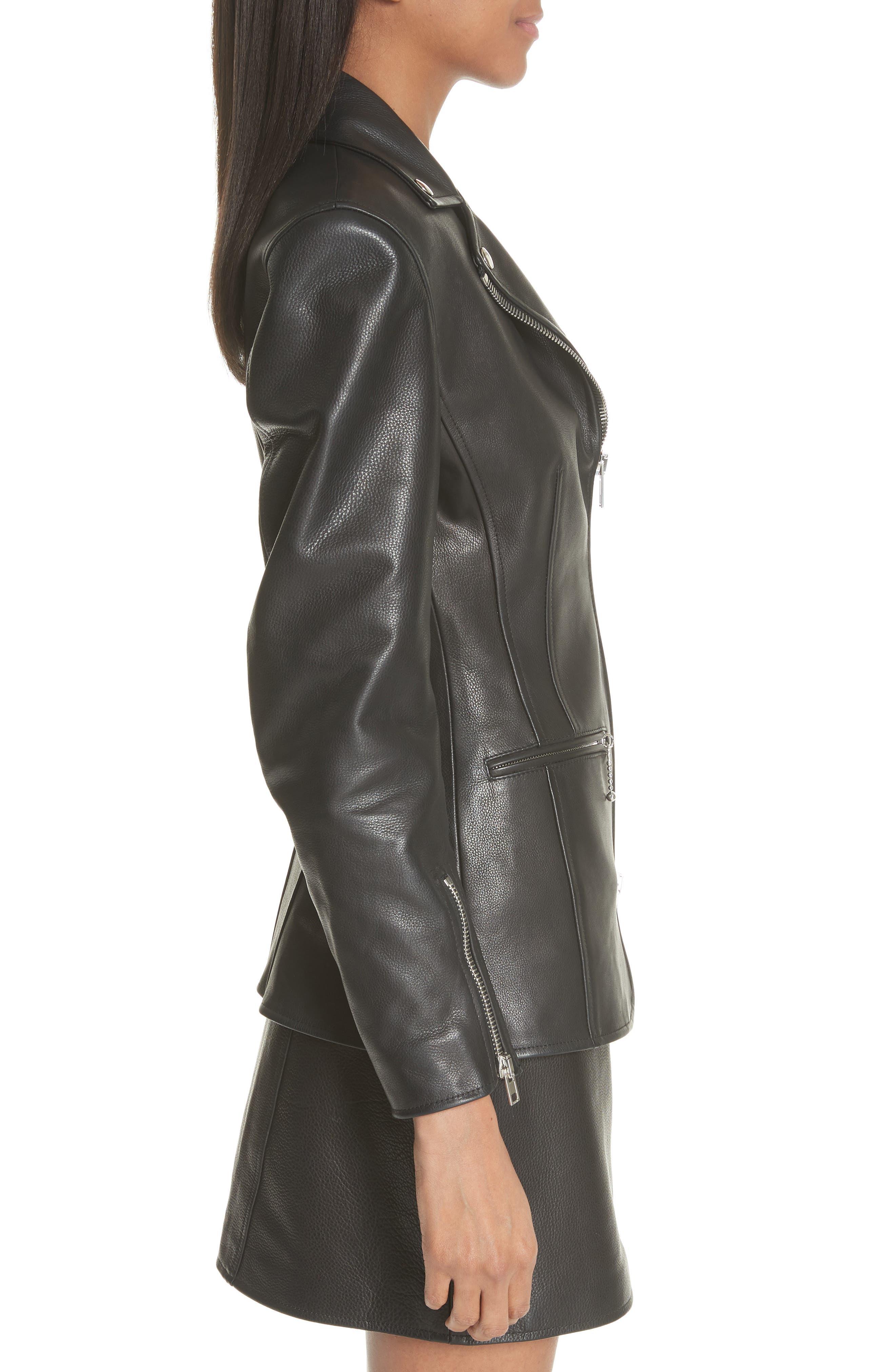 Zip Front Leather Blazer,                             Alternate thumbnail 3, color,                             BLACK