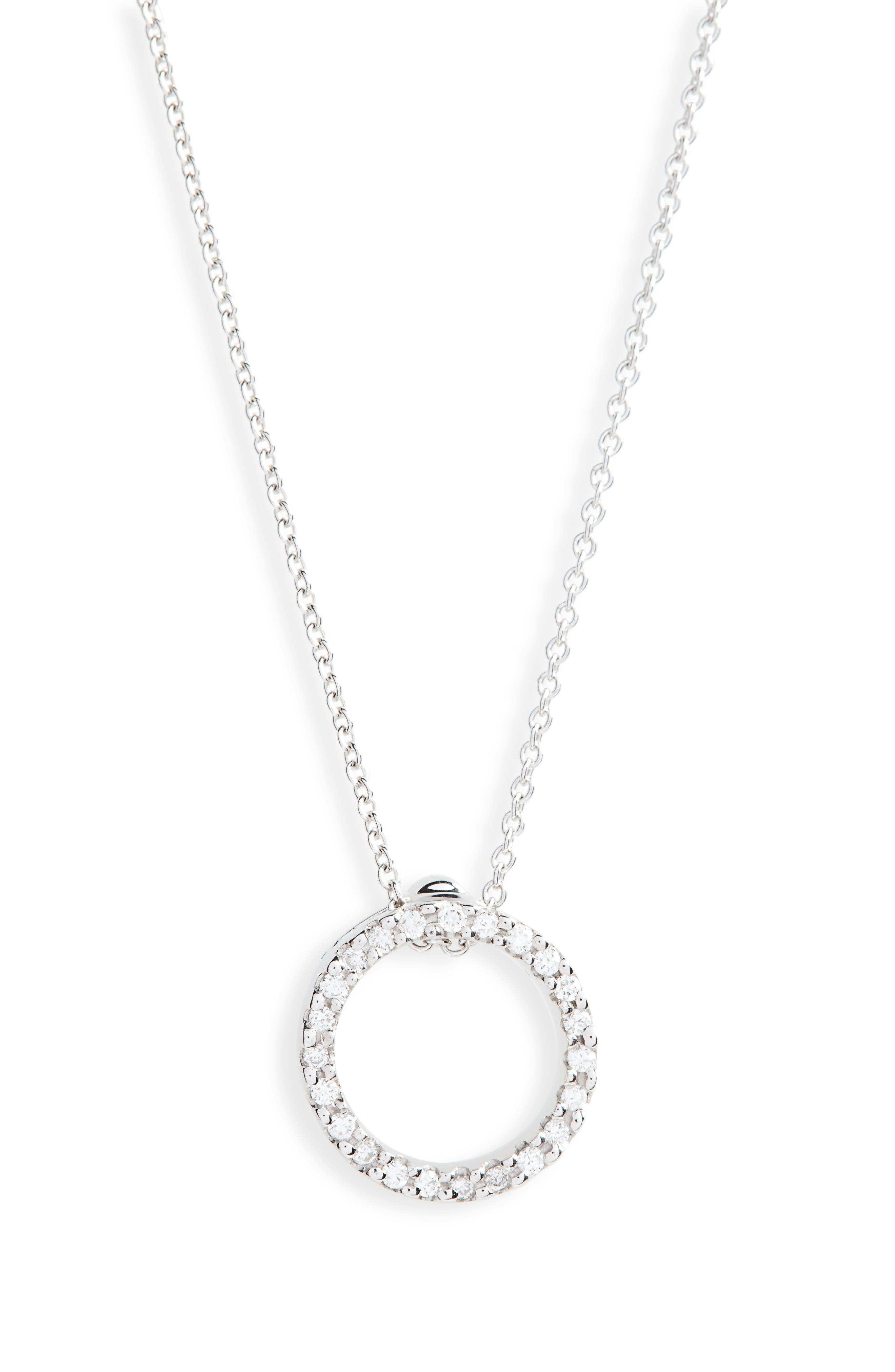 ROBERTO COIN,                             'Tiny Treasures' Small Diamond Circle Pendant Necklace,                             Alternate thumbnail 2, color,                             WHITE GOLD
