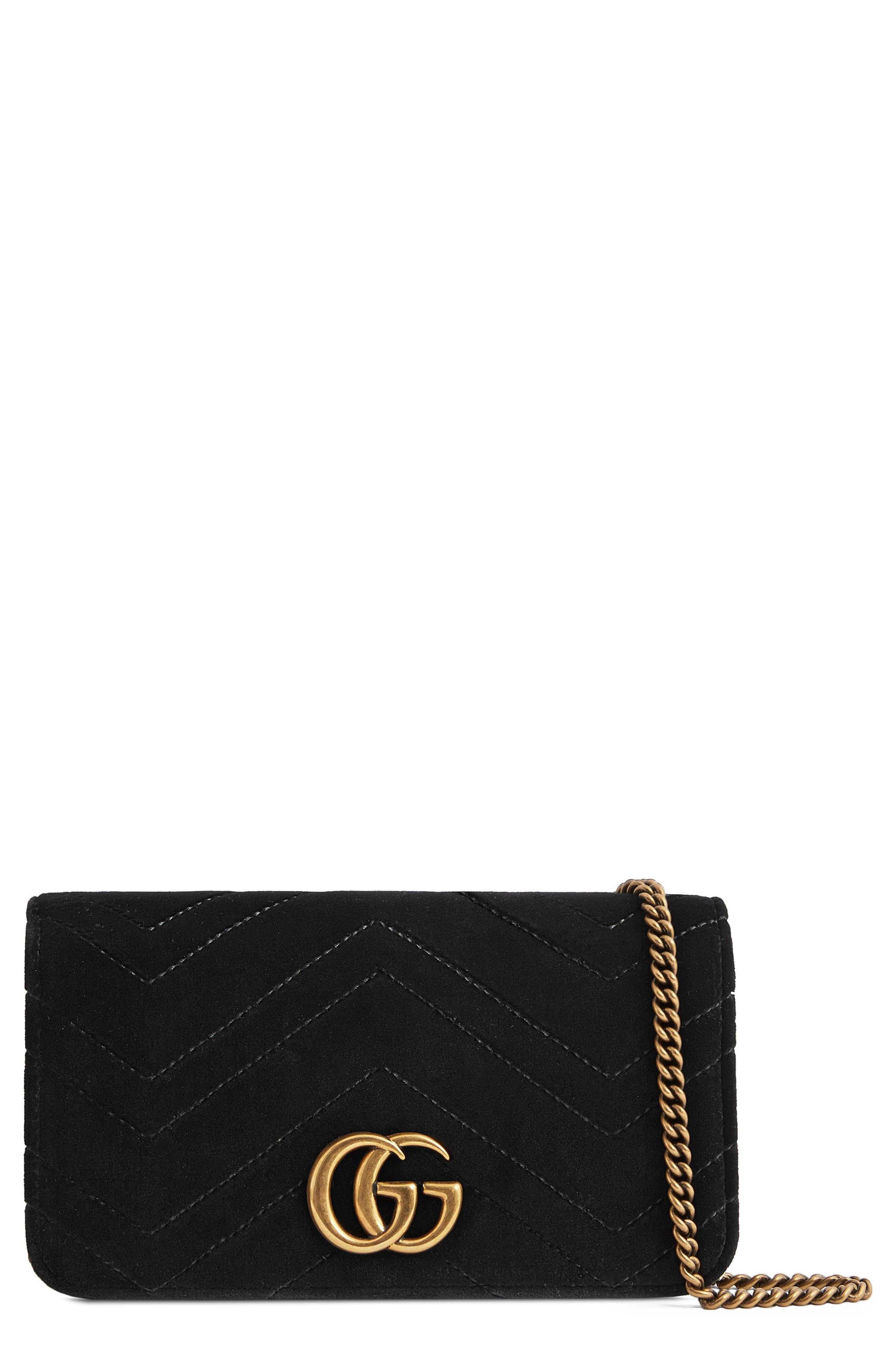 GG Marmont 2.0 Matelassé Velvet Shoulder Bag, Main, color, NERO/ NERO