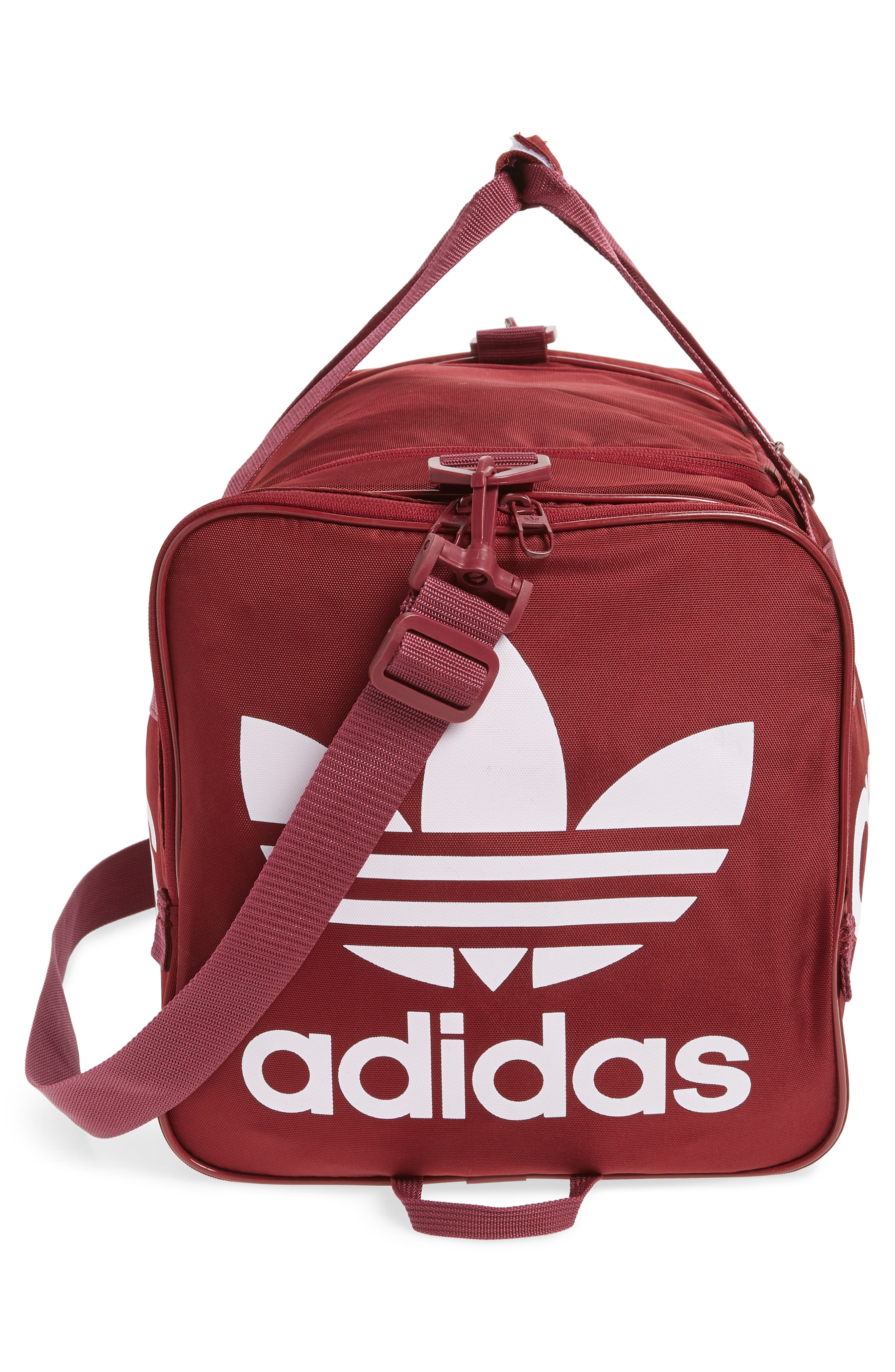 adidas Original Santiago Duffel Bag,                             Alternate thumbnail 5, color,                             COLLEGIATE BURGUNDY/ WHITE